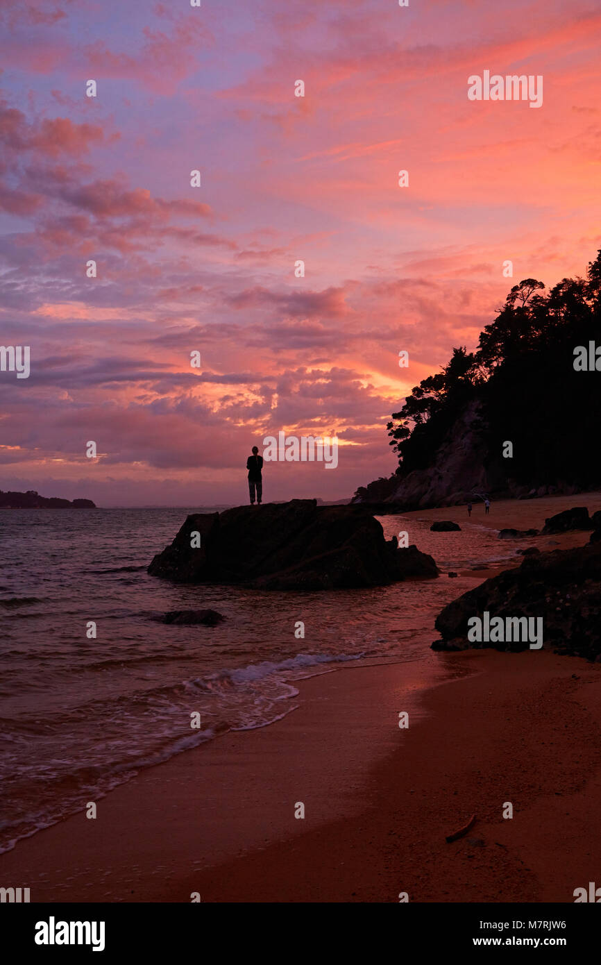 Person on rock at Observation Beach at sunset, Abel Tasman National Park, Nelson Region, South Island, New Zealand - Stock Image