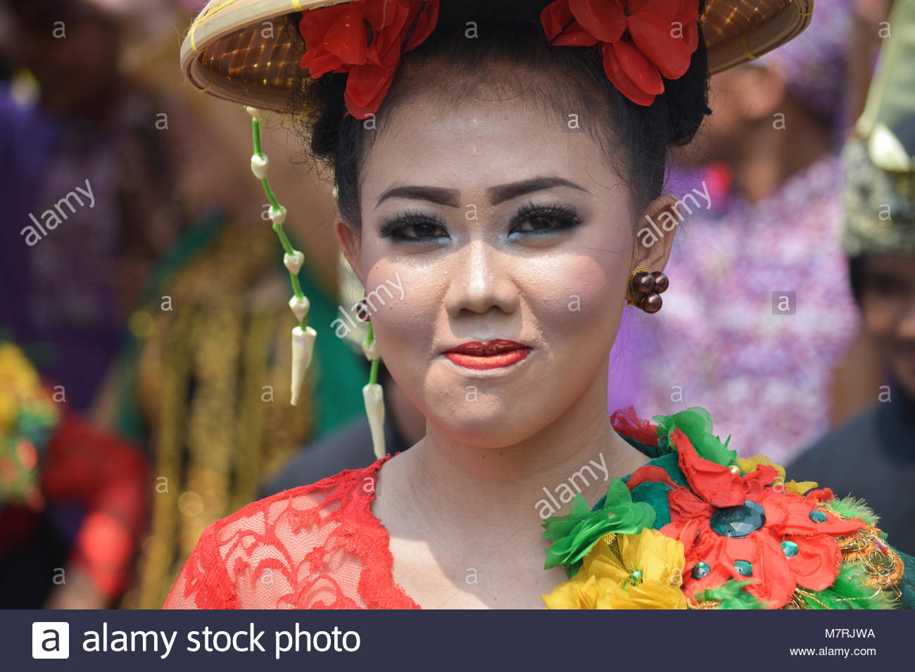 Karawang, West Java. Indonesia, 11 March 2018. Several Sundanese women participated in Cap Go Meh Parade wearing Stock Photo