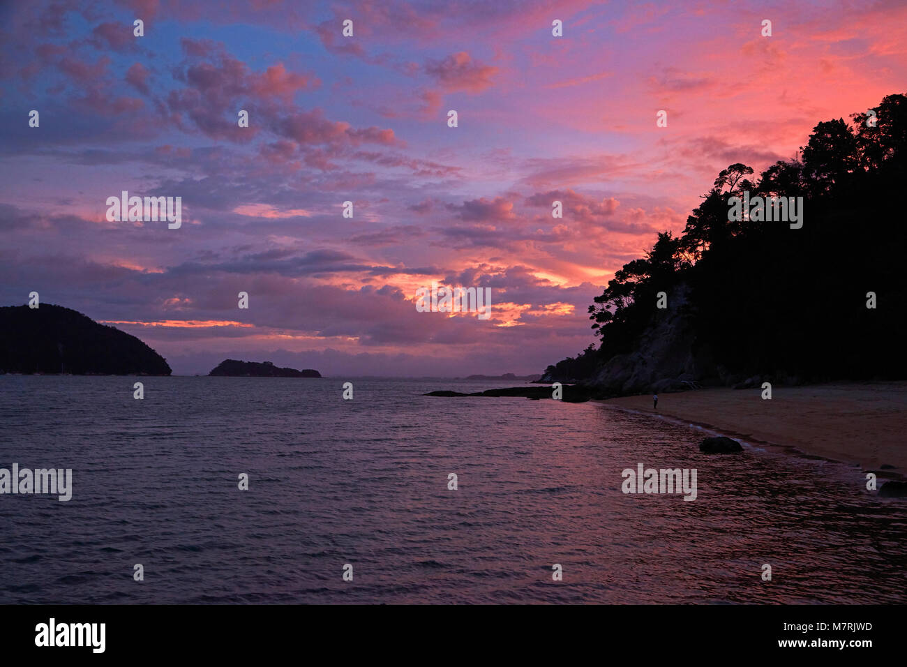 Observation Beach at sunset, Abel Tasman National Park, Nelson Region, South Island, New Zealand - Stock Image