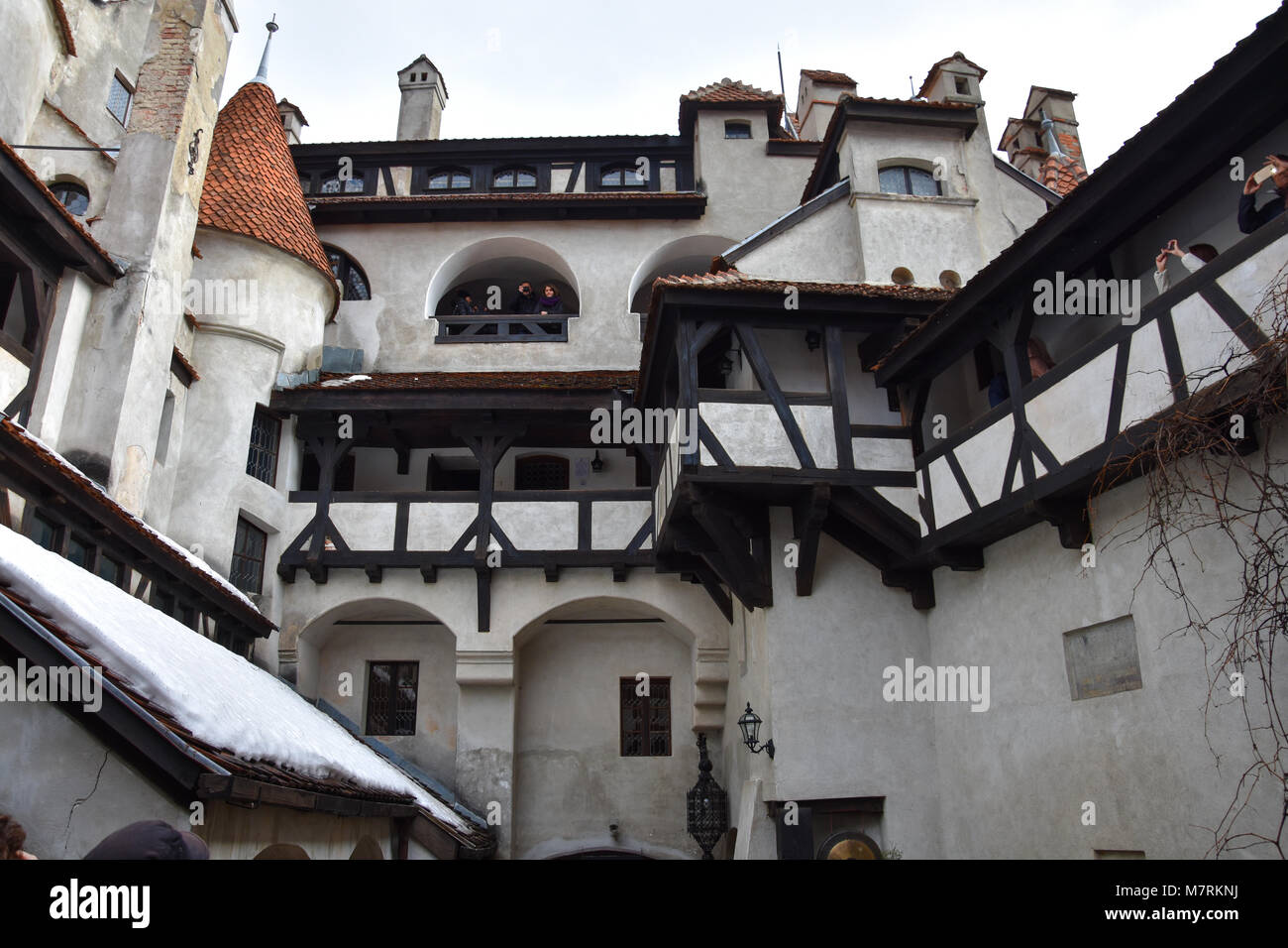 Bran, Romania. February 4, 2017. Inside the Bran Castle (Castelul Bran), commonly known as 'Dracula's Castle' - Stock Image