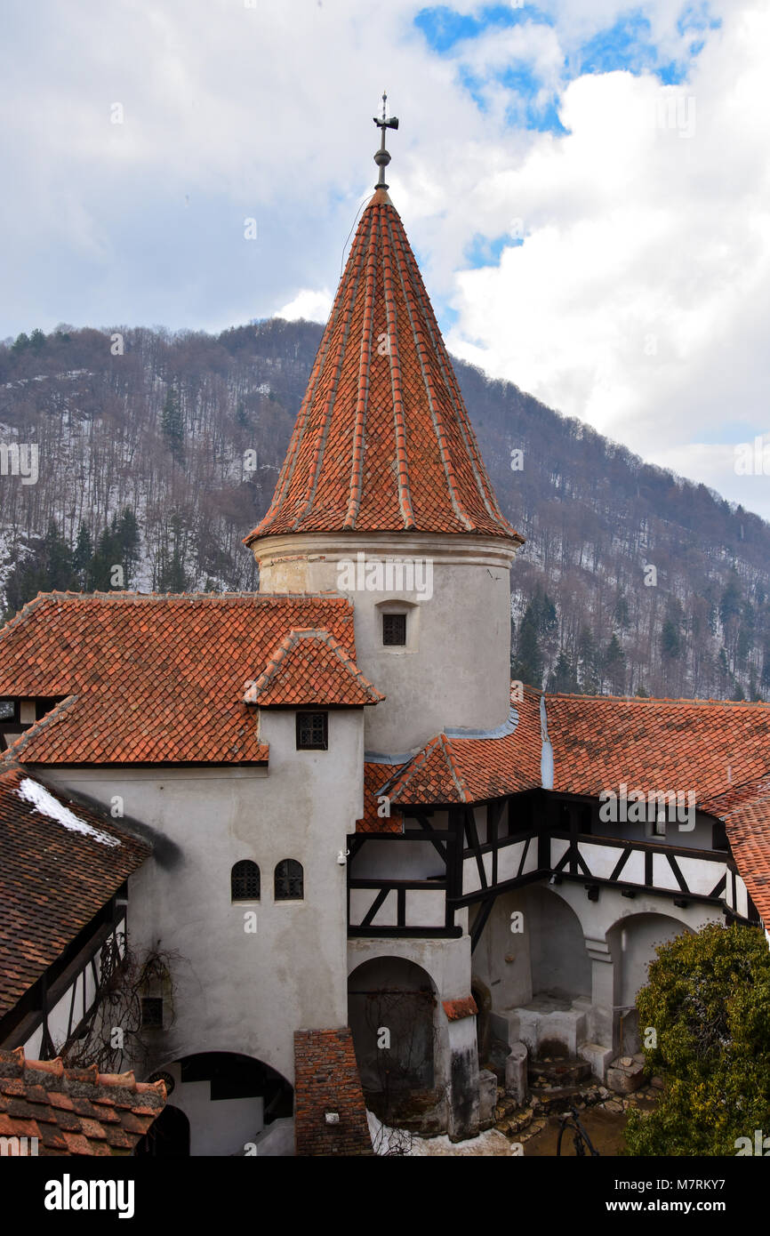 Bran, Romania. February 4, 2017. Tower of the Bran Castle (Castelul Bran), commonly known as 'Dracula's - Stock Image