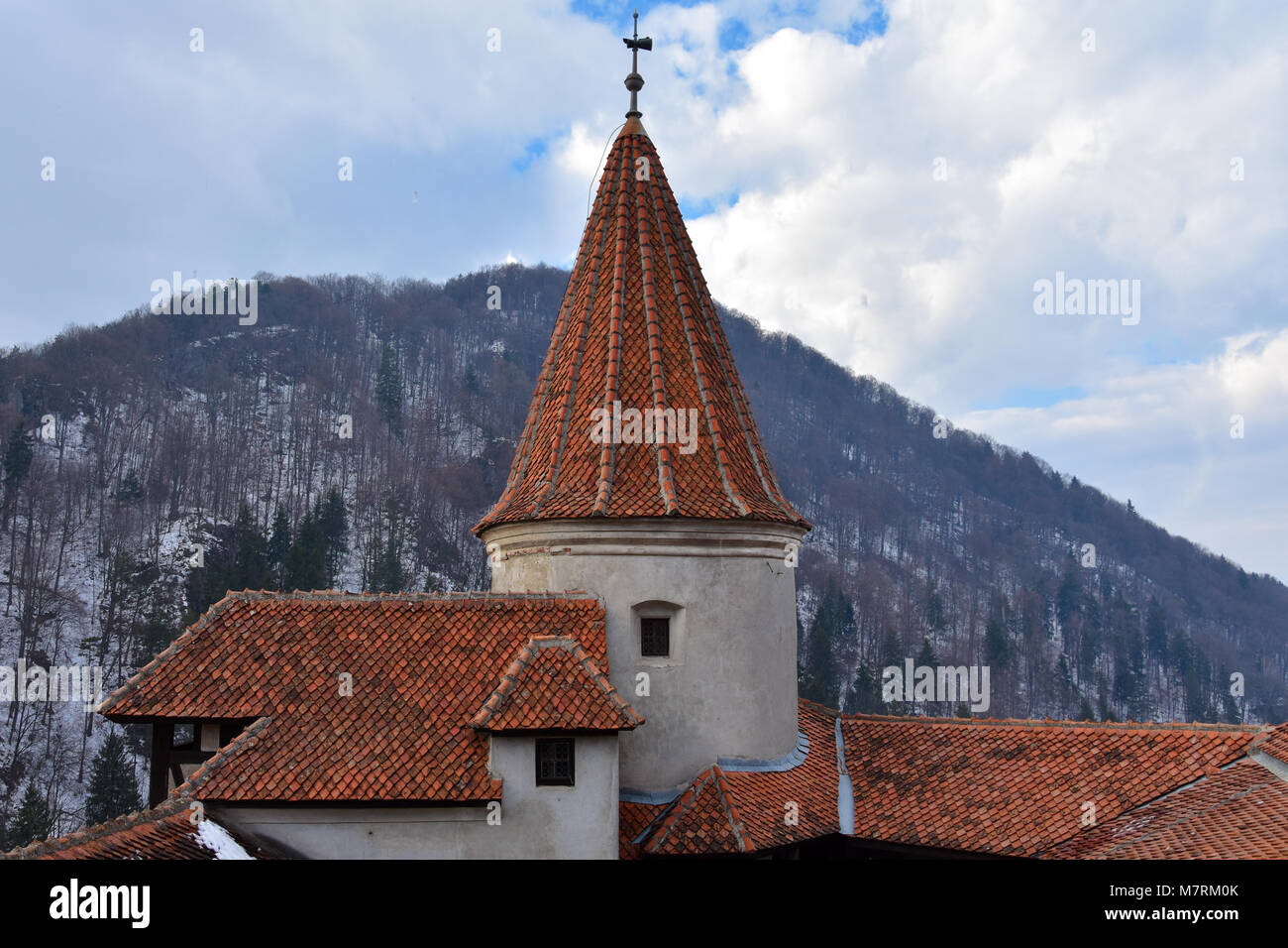 "Bran, Romania. February 4, 2017. Tower of the Bran Castle (Castelul Bran), commonly known as ""Dracula's Castle"" Stock Photo"