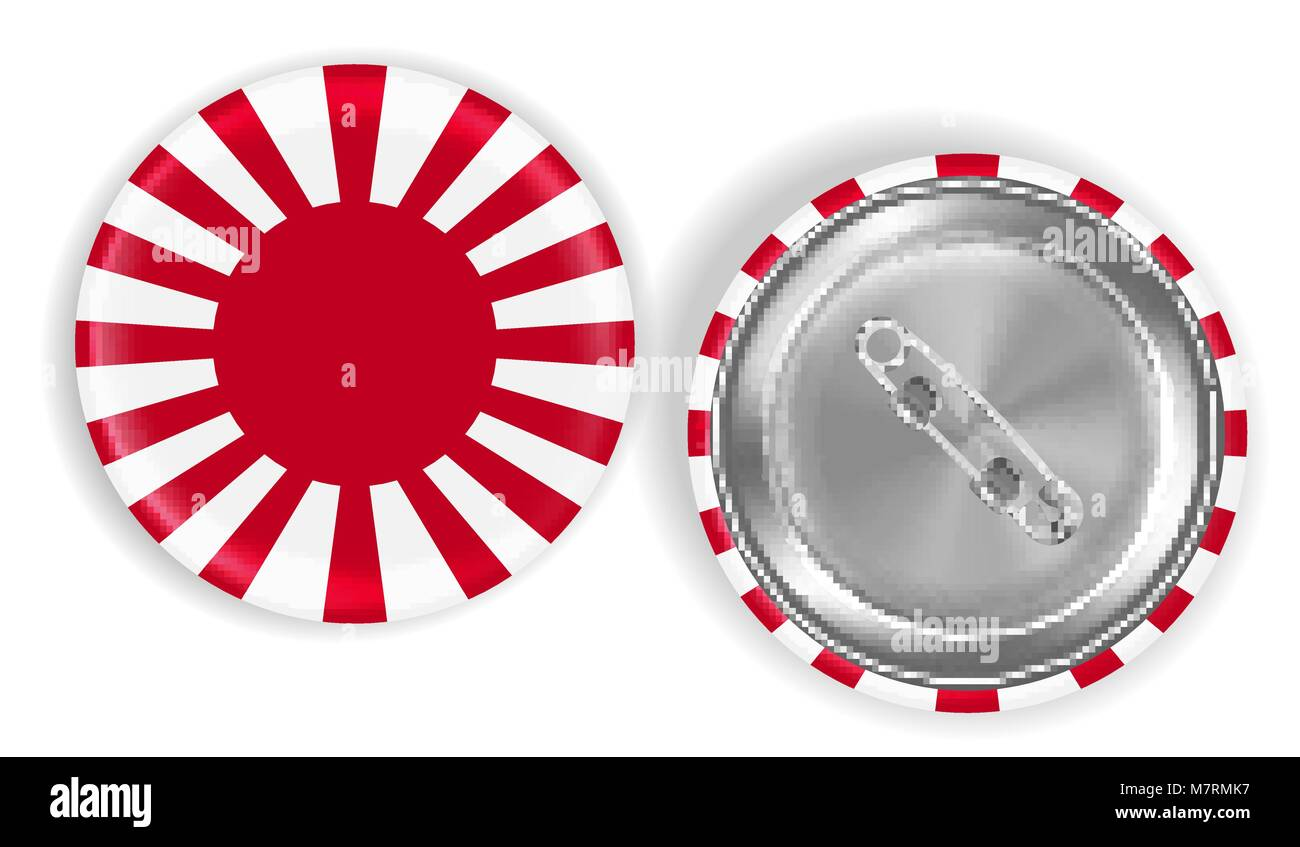 Rising Sun Flag of Japan steel pin brooch vector - Stock Vector
