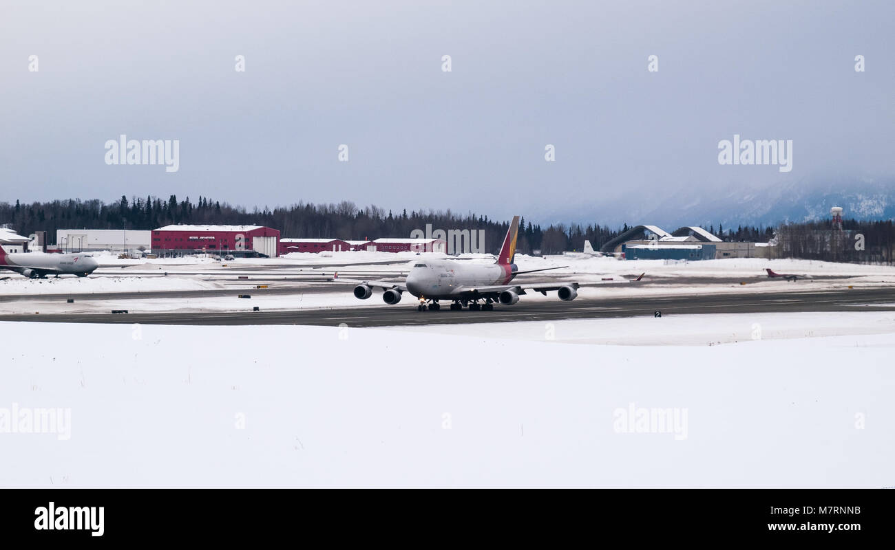Cargo jets, 747 and 777 taking off and landing at Ted Stevens International Airport in Anchorage Alaska, Atlas Air, - Stock Image