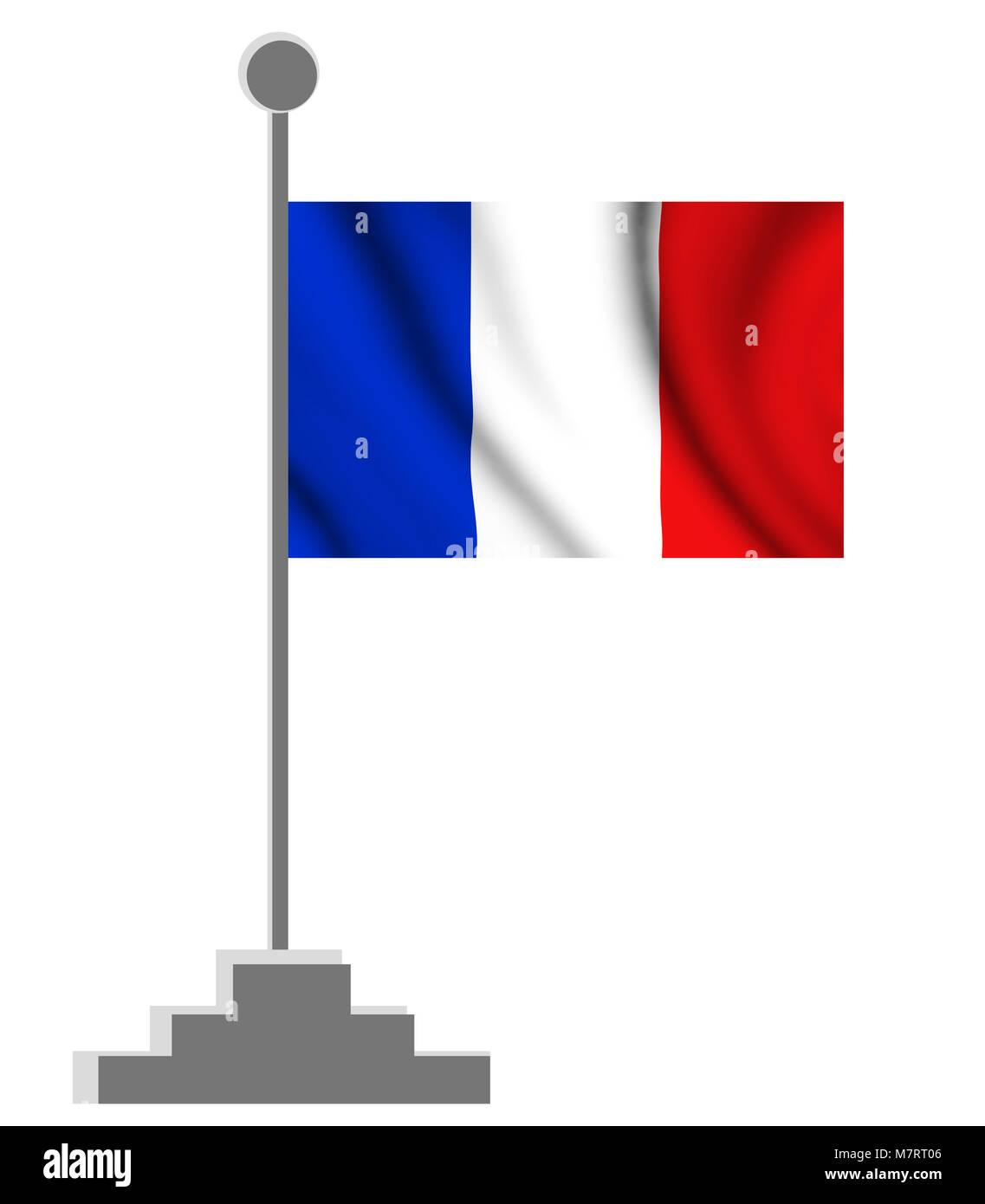 wavy french flag illustration - Stock Image
