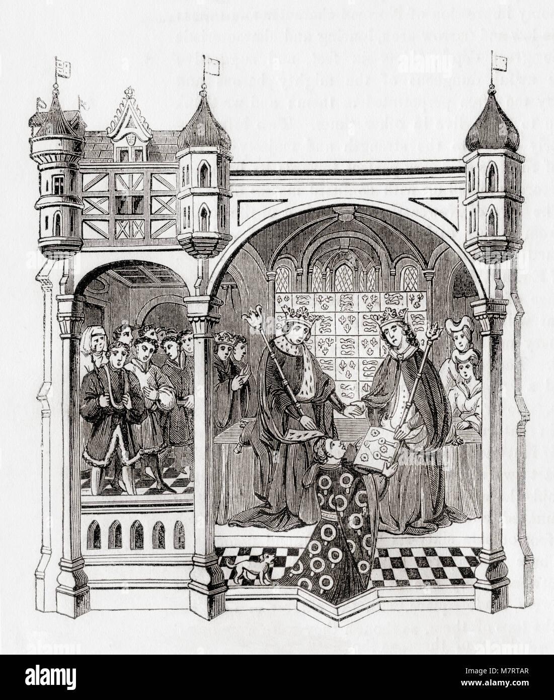Talbot, with his dog, presenting the Talbot Shrewsbury Book to Margaret of Anjou and Henry VI, 1445.  John Talbot, Stock Photo