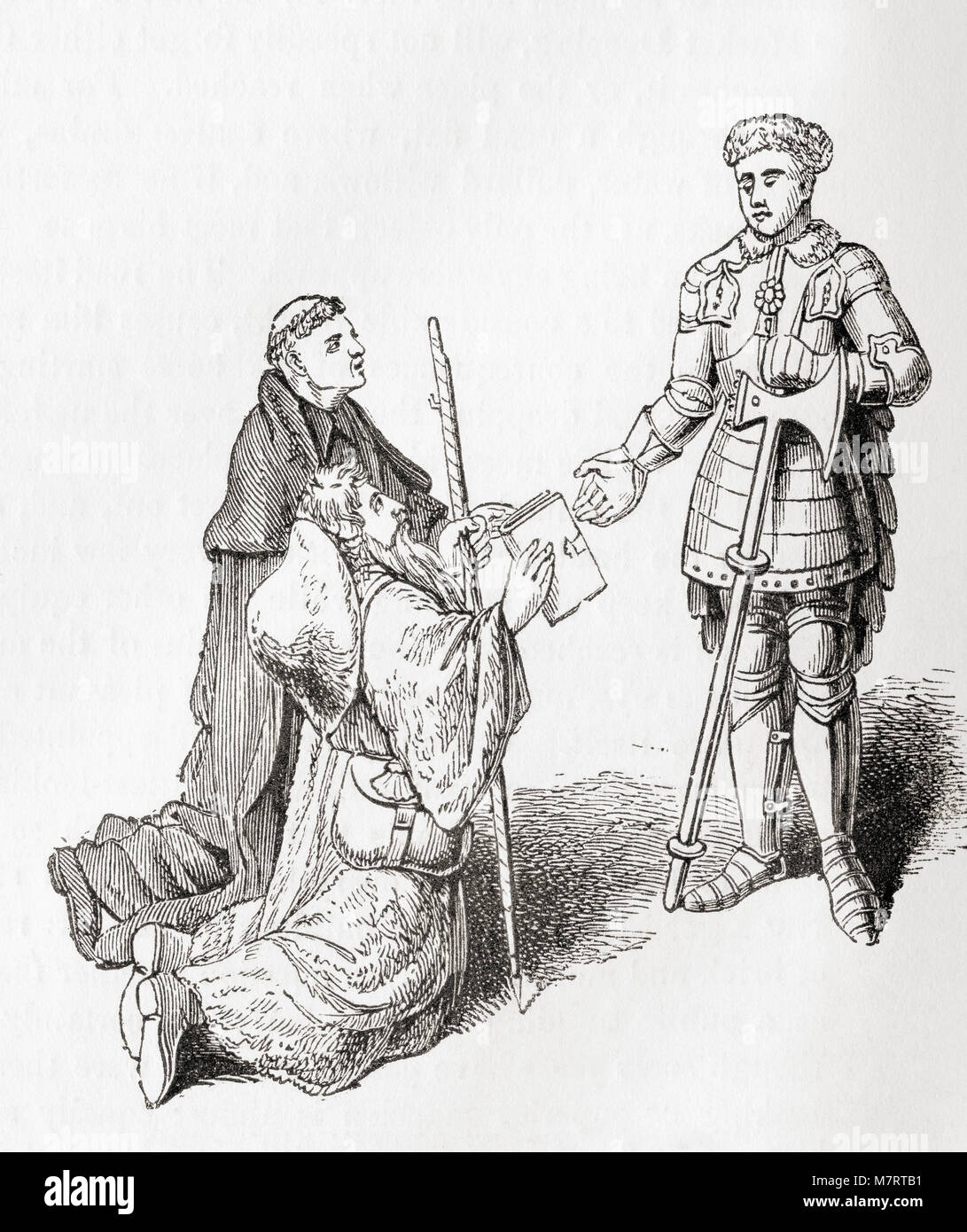 Lydgate presenting one of his poems to the Earl of Warwick.  John Lydgate of Bury,c. 1370 – c. 1451.  English monk - Stock Image