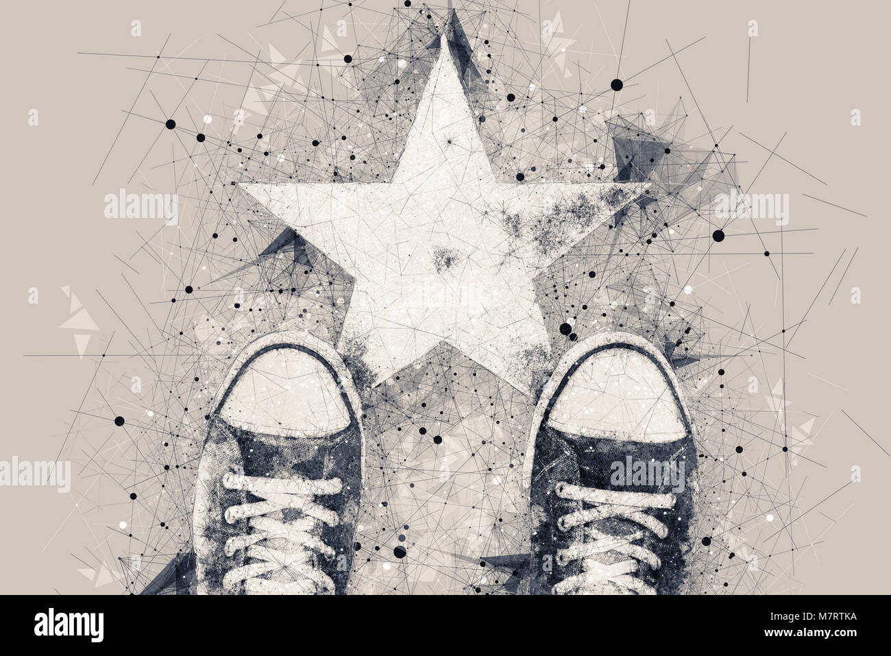 Young person on the road with star shape imprint - talent, vip, prize and award conceptual illustration - Stock Image