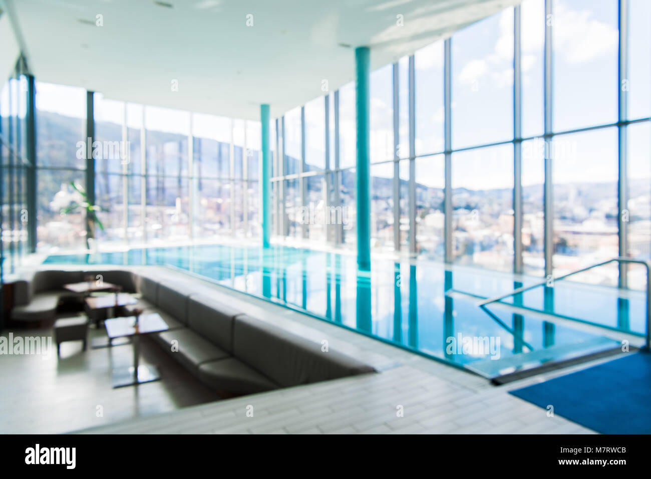 Abstract Blur Luxury Indoor Swimming Pool Background Stock Photo