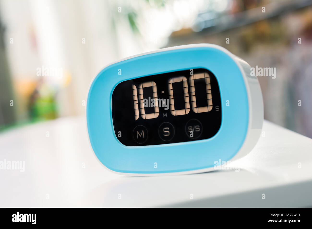 10 Minutes - Macro Of An Digital Blue Kitchen Timer On White Table ...