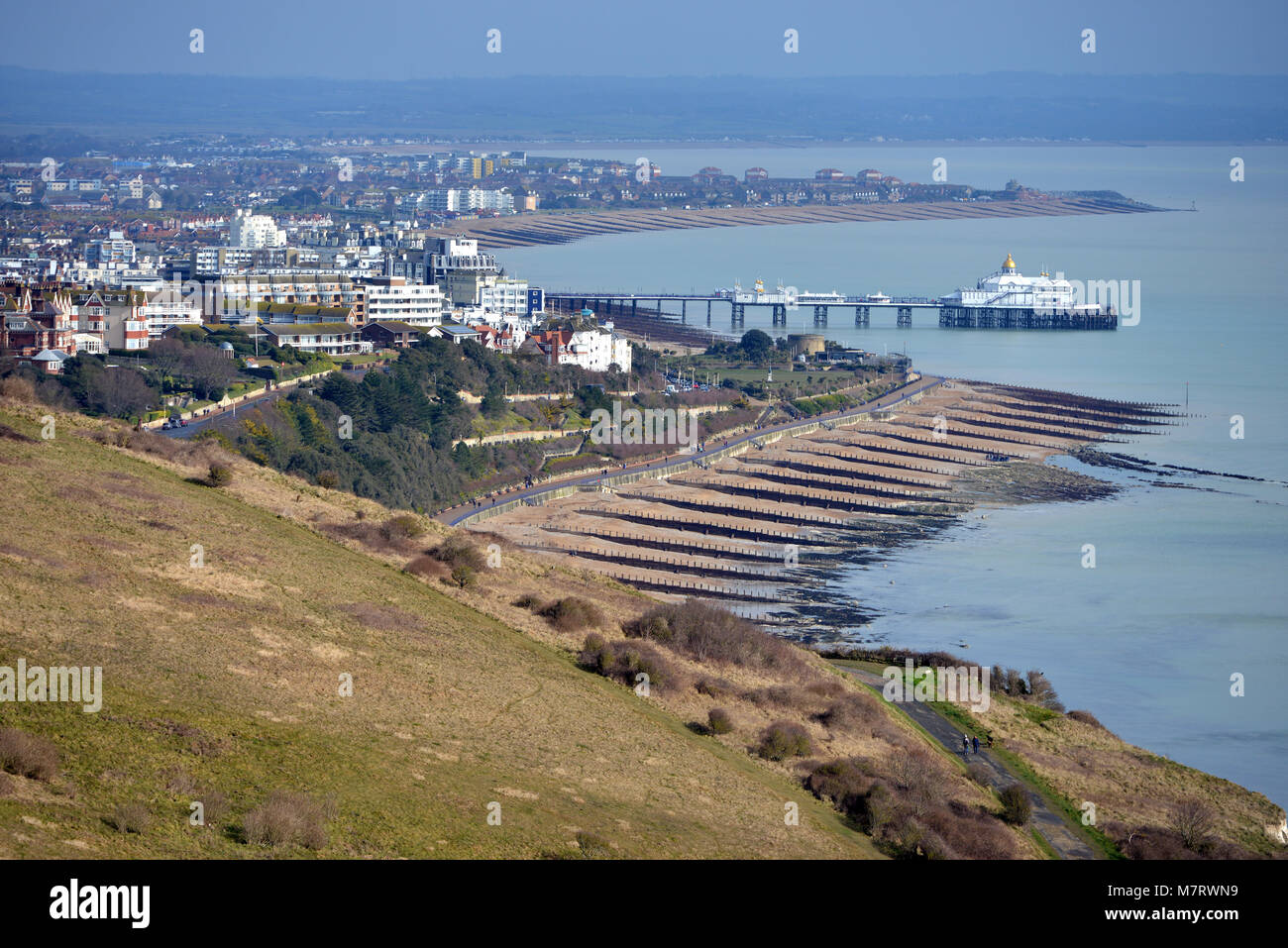 Eastbourne, East Sussex, seen near the end point of the South Downs Way near Beachy Head. - Stock Image