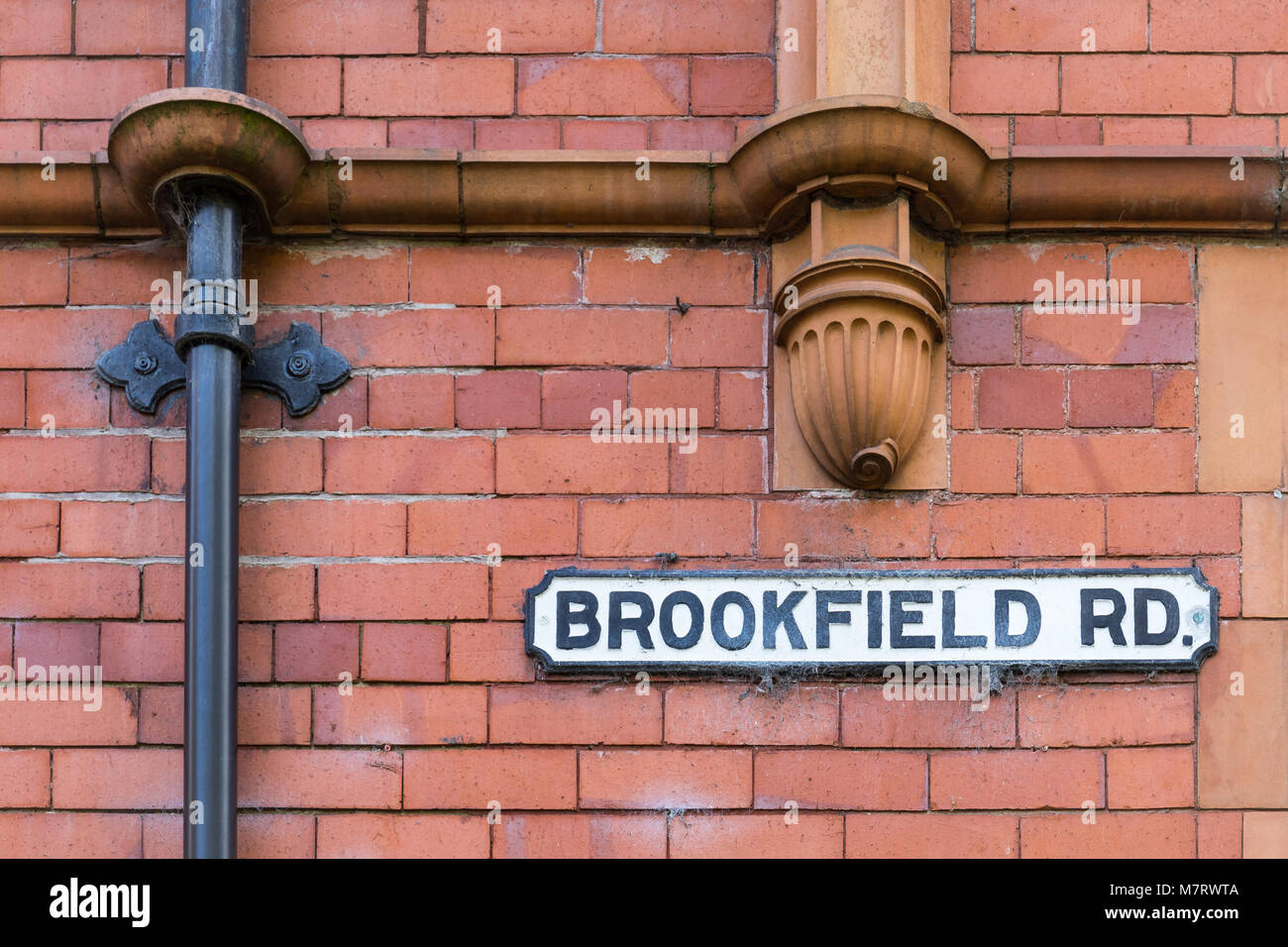 Brookfield Road sign, Lymm, Cheshire, UK - Stock Image