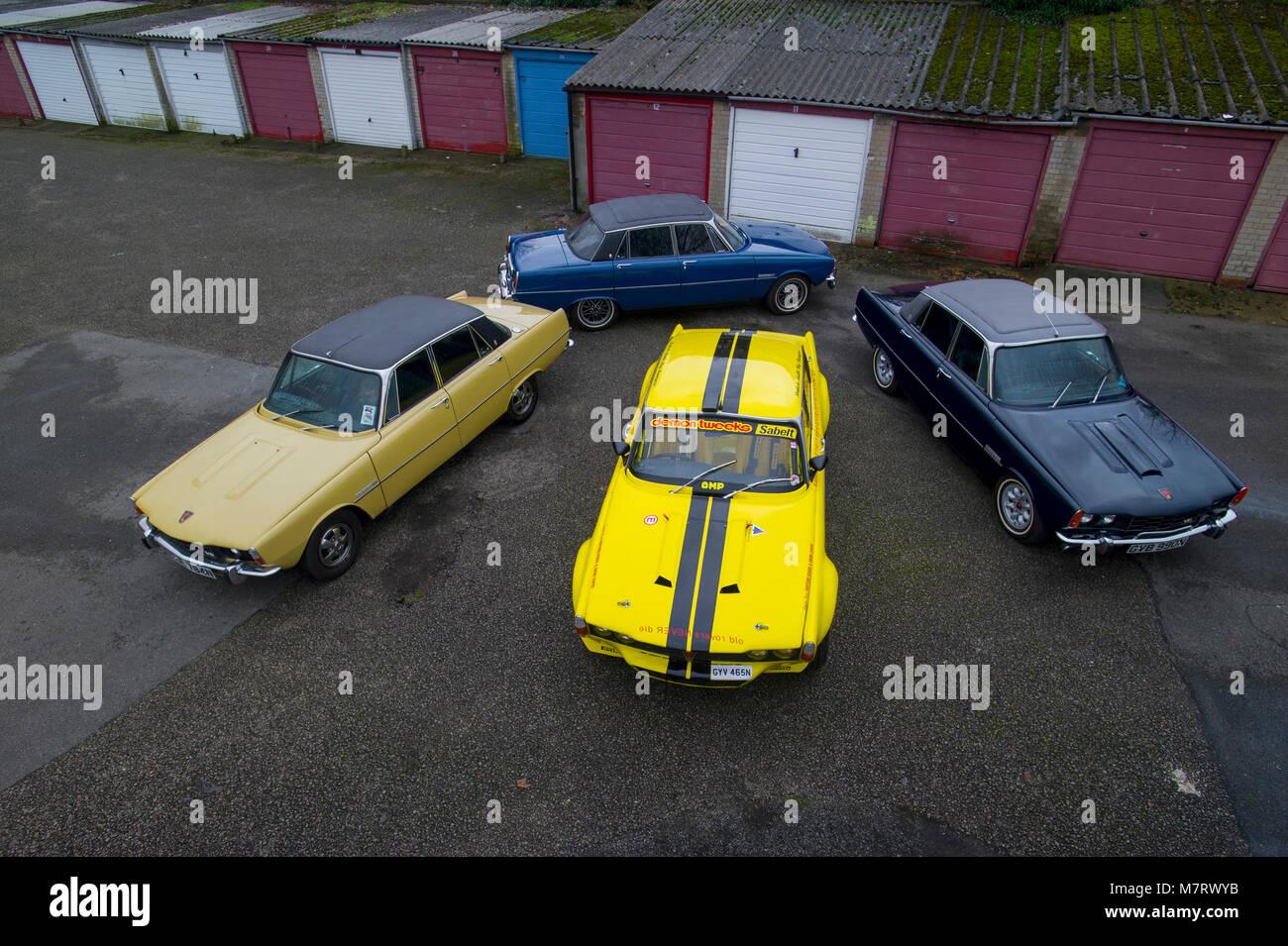 A range of Rover P6s, British 2000, 3500 V8, NADA (US spec) V8 and factory race replica Stock Photo