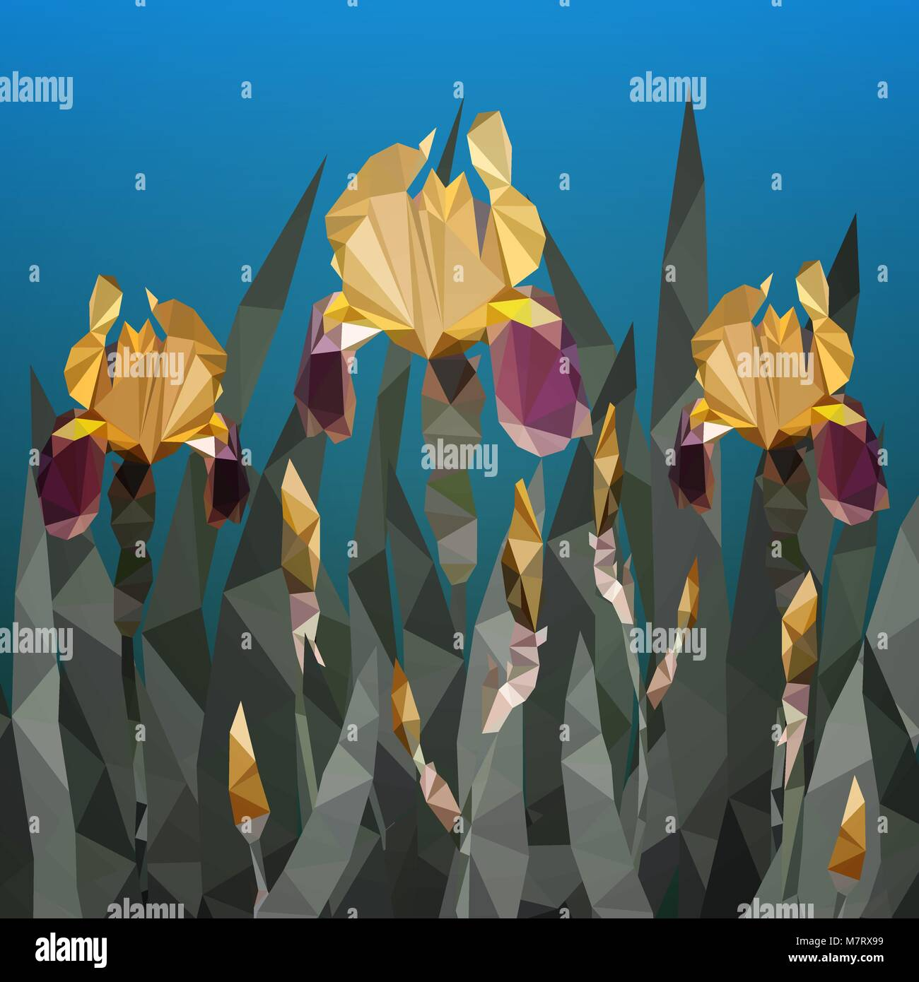 Iris flower drawing stock vector images alamy vector illustration with beautiful yellow iris flower from triangles spring flowers stock vector izmirmasajfo
