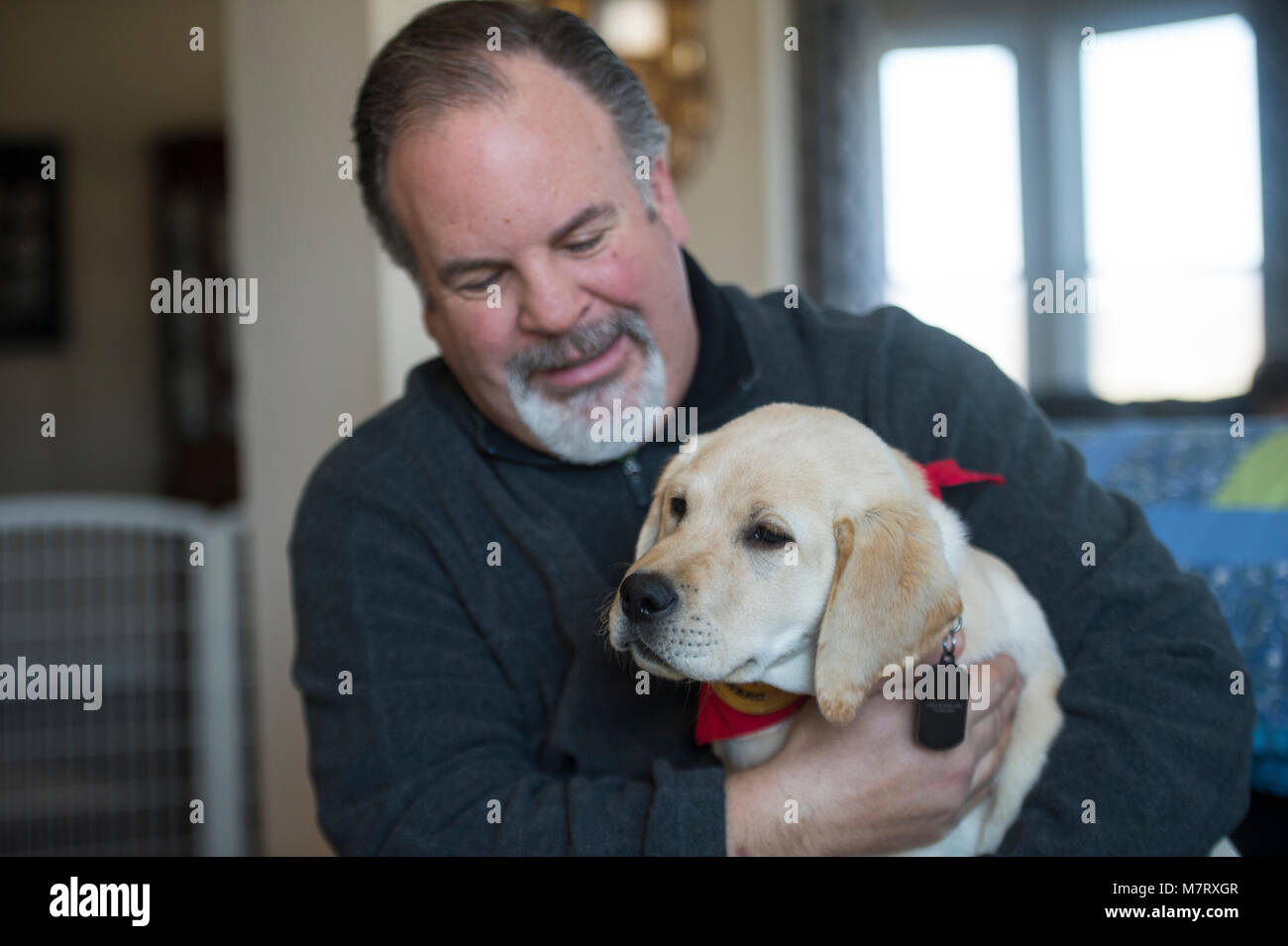 UNITED STATES:March 10, 2018: Jim Klock of Lucketts a retired Secret Service K9 officer is spending his time training - Stock Image
