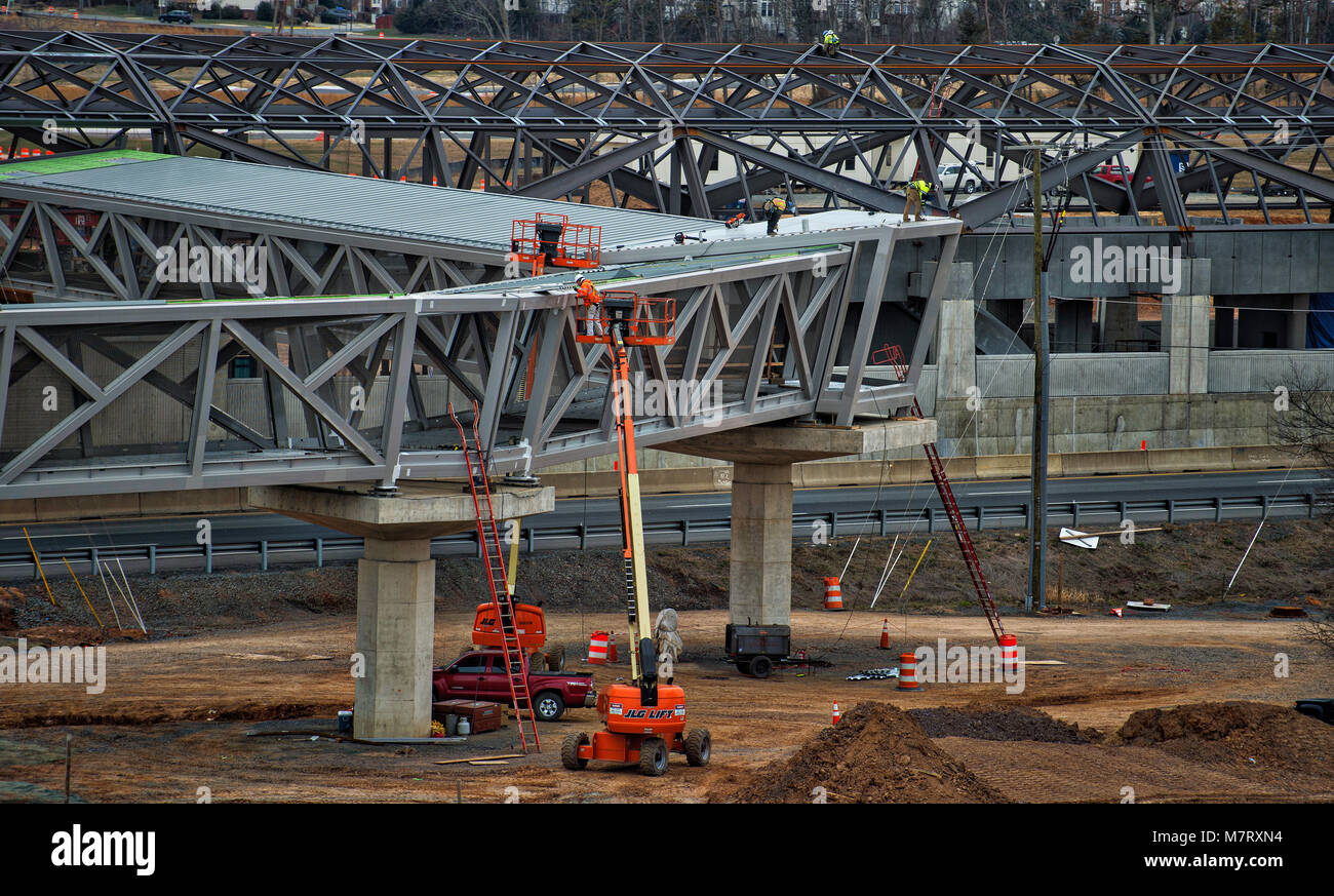 UNITED STATES: March 12, 2018: Construction is well under way on the Ashburn Station Metro stop and at the same - Stock Image