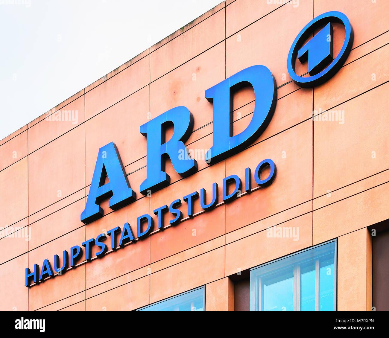 Berlin, Germany - December 8, 2017: Office building of ARD onsortium of public broadcasters in Berlin, Germany Stock Photo