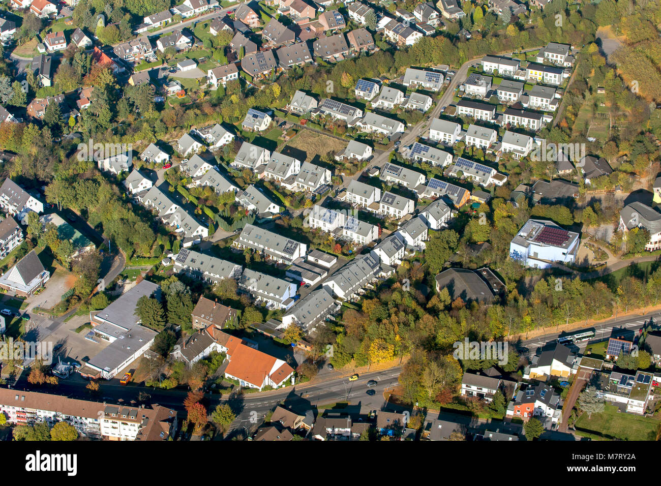 Aerial view, semi-detached houses, new housing estate Am Stenshof, solar roofs, photovoltaic systems, Waldorf School - Stock Image