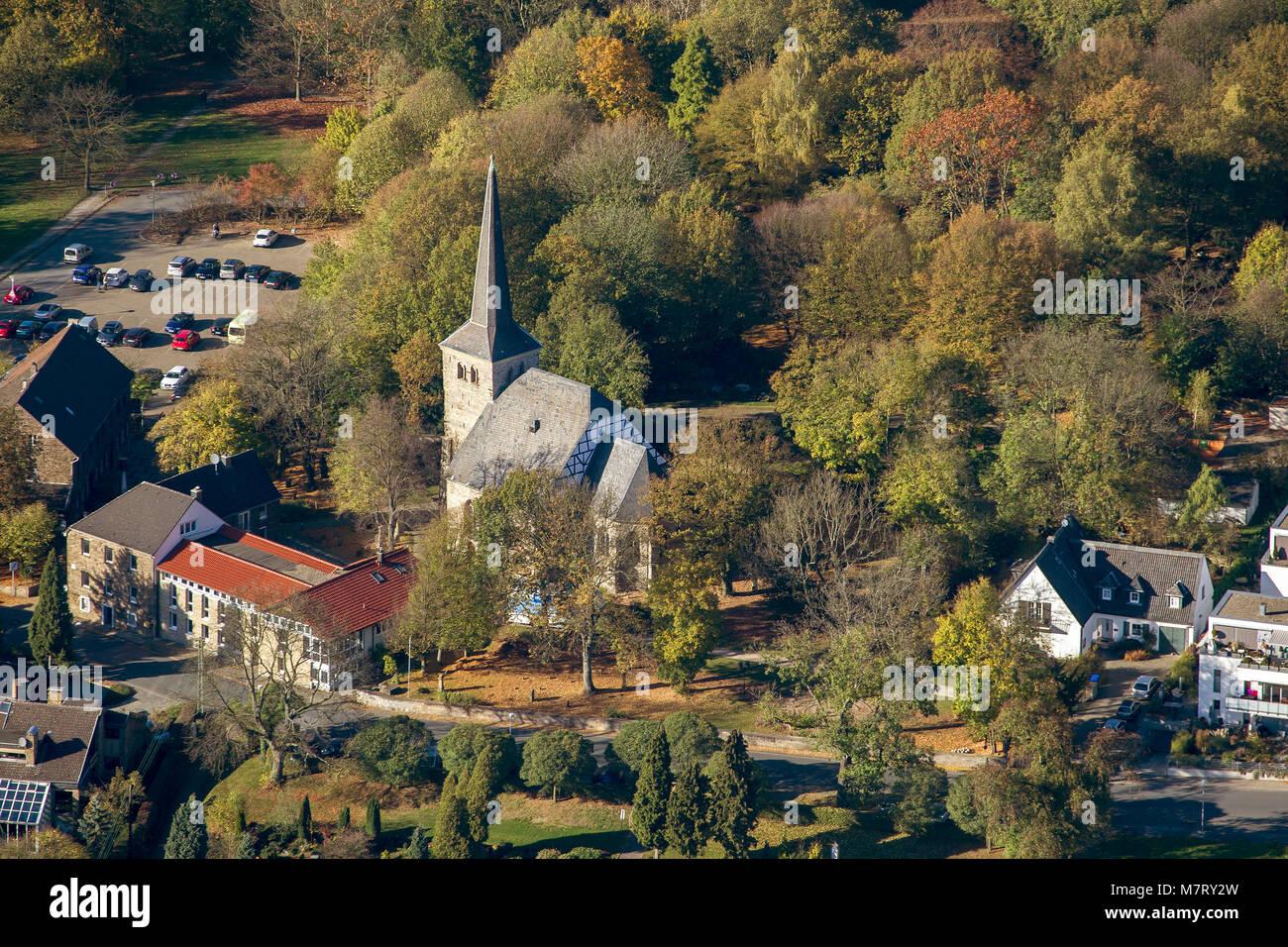 Aerial view, Stiepeler village church, Stiepeler village church, Bochum, Ruhr area, North Rhine-Westphalia, Germany, Europe, birds-eyes view, aerial v Stock Photo
