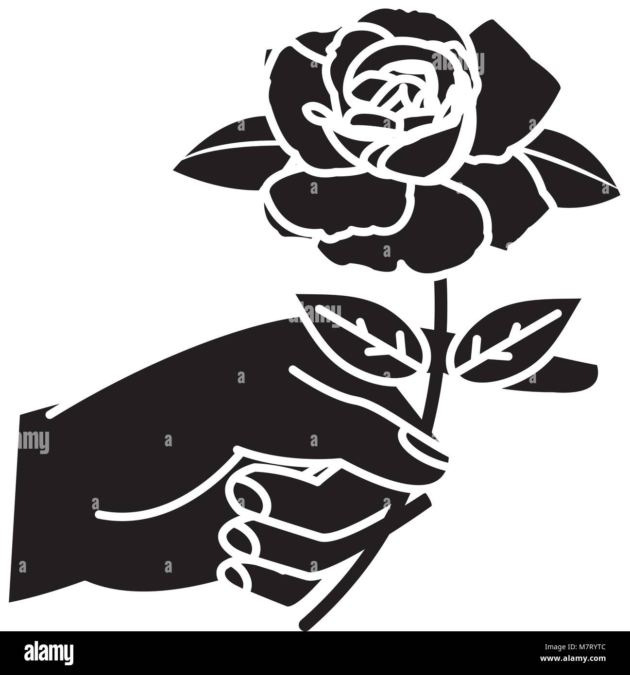 silhouette woman hand with rose petals and leaves Stock Vector