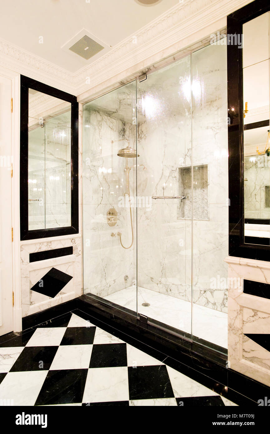 Pleasing White Marble Shower With Glass Doors And Black And White Download Free Architecture Designs Lukepmadebymaigaardcom