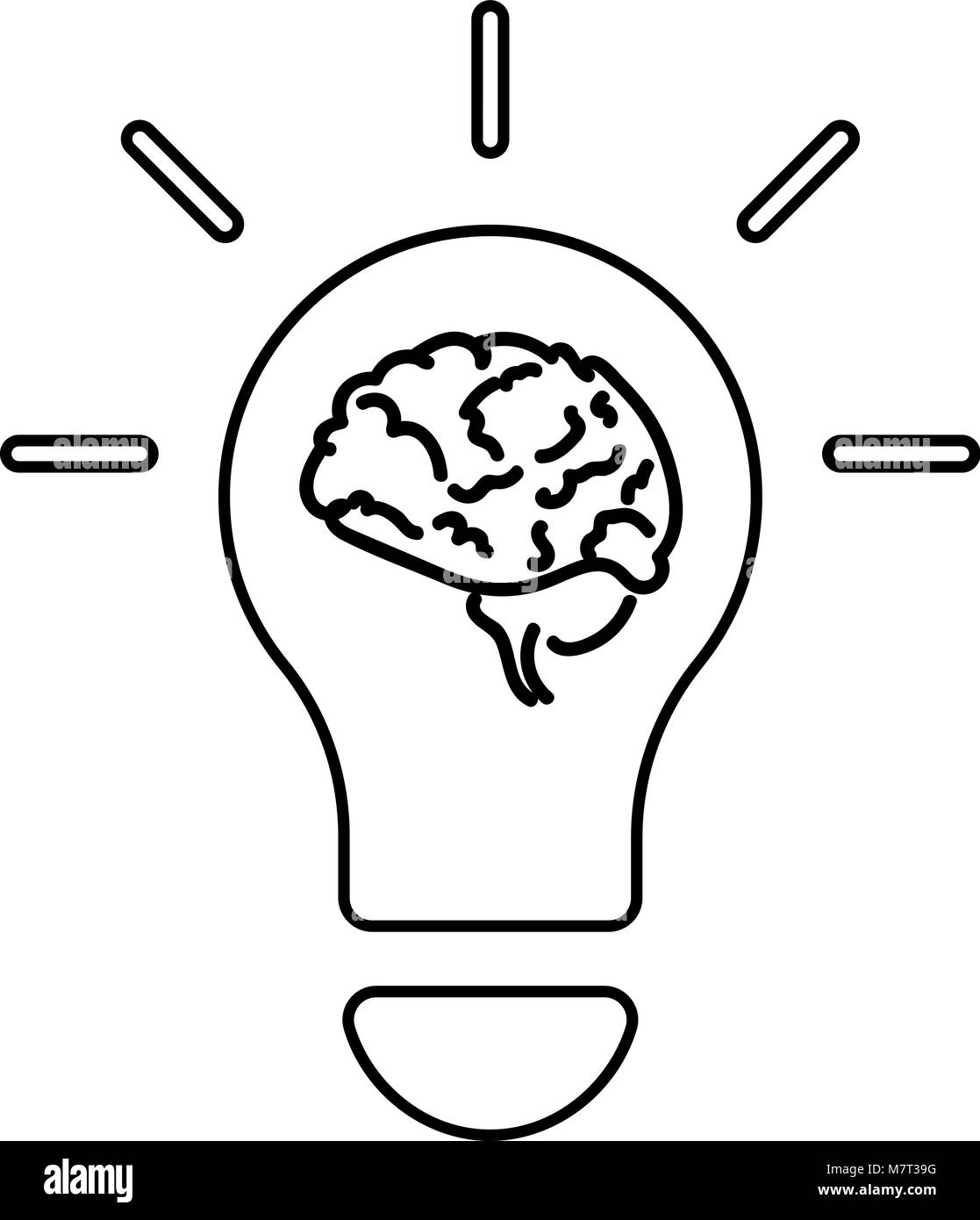 Light bulb and brain line icon, outline vector - Stock Image