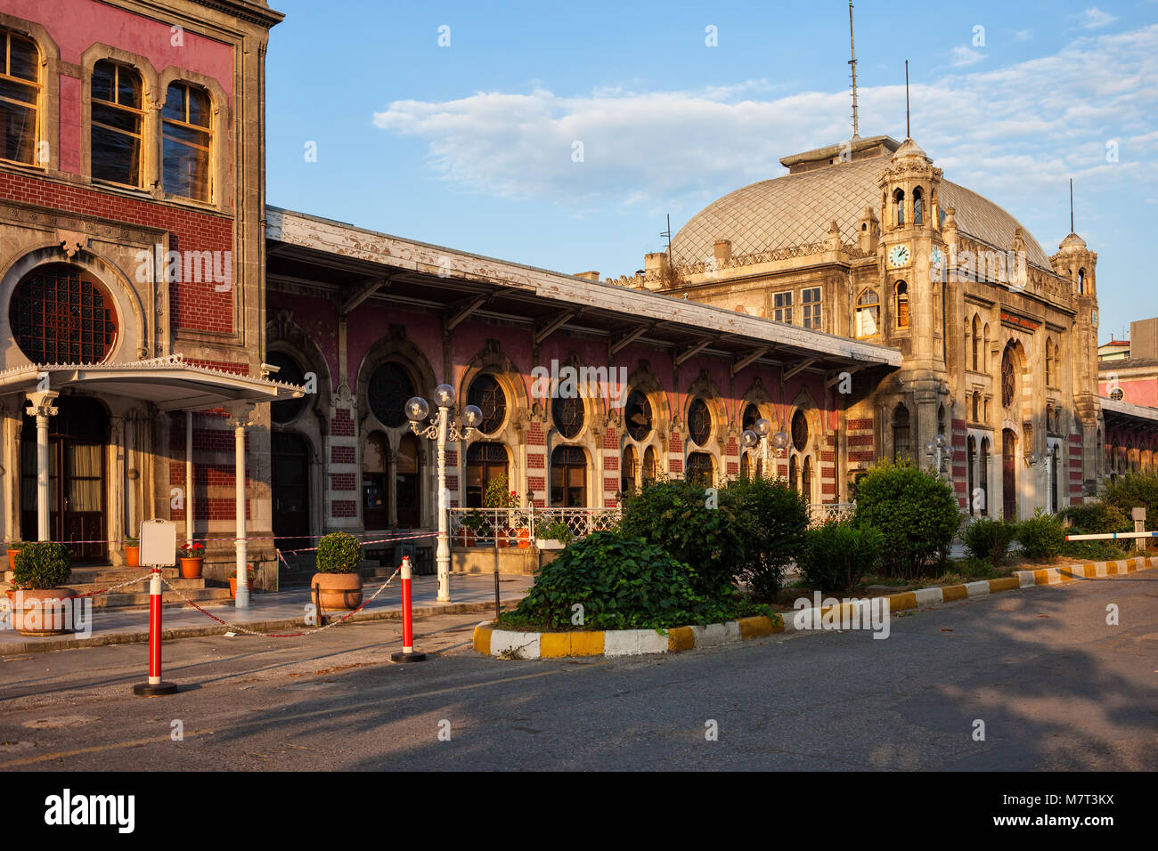 Turkey, Istanbul, Sirkeci railway station at sunset, last stop of the Orient Express, historic city landmark opened - Stock Image