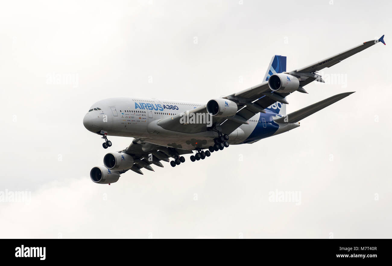 Airbus Industrie A380 modern civil airliner taking off for a demo flight in Zhukovsky during MAKS-2013 airshow. - Stock Image