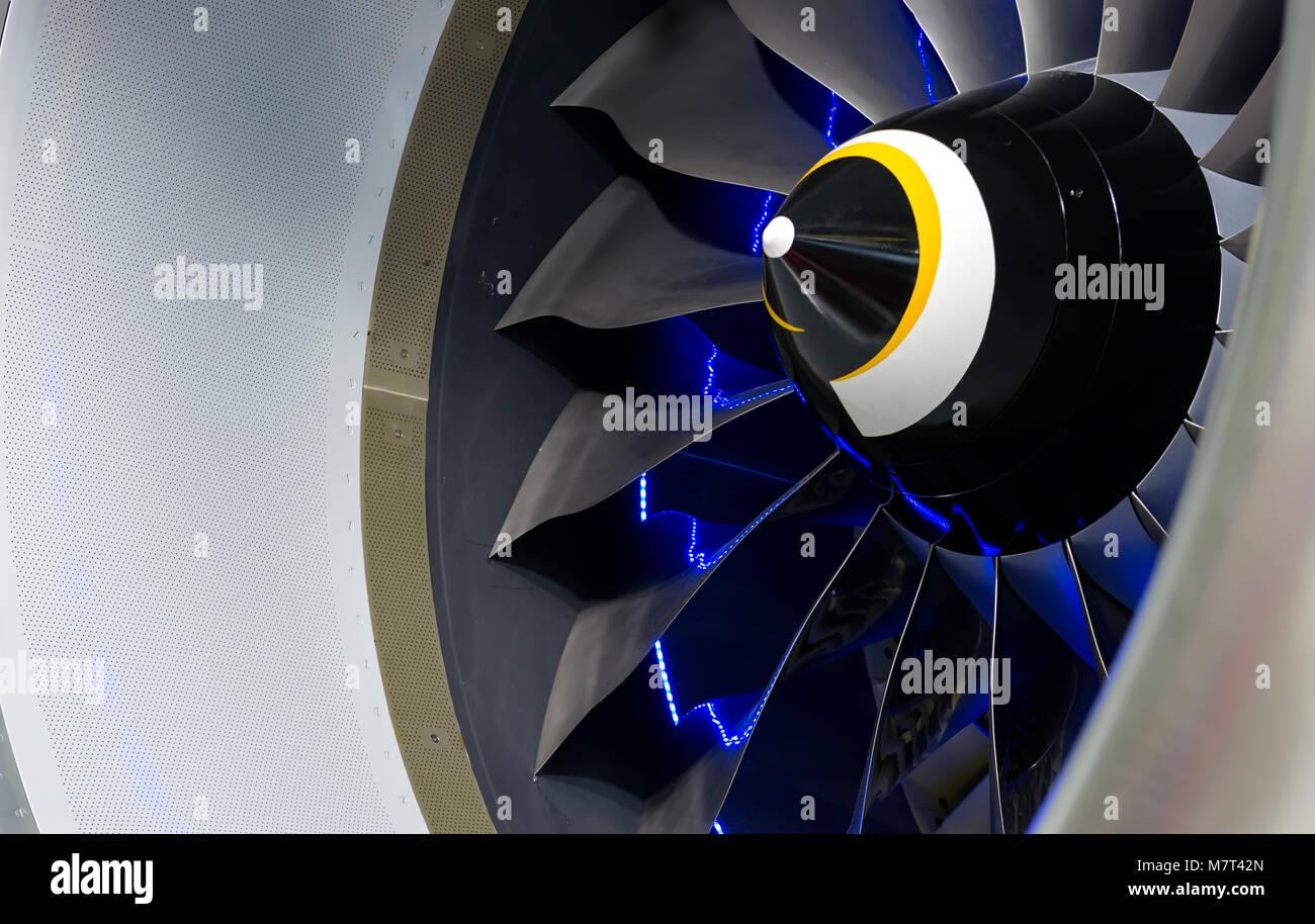 Turbine Blades. Blue light - Stock Image