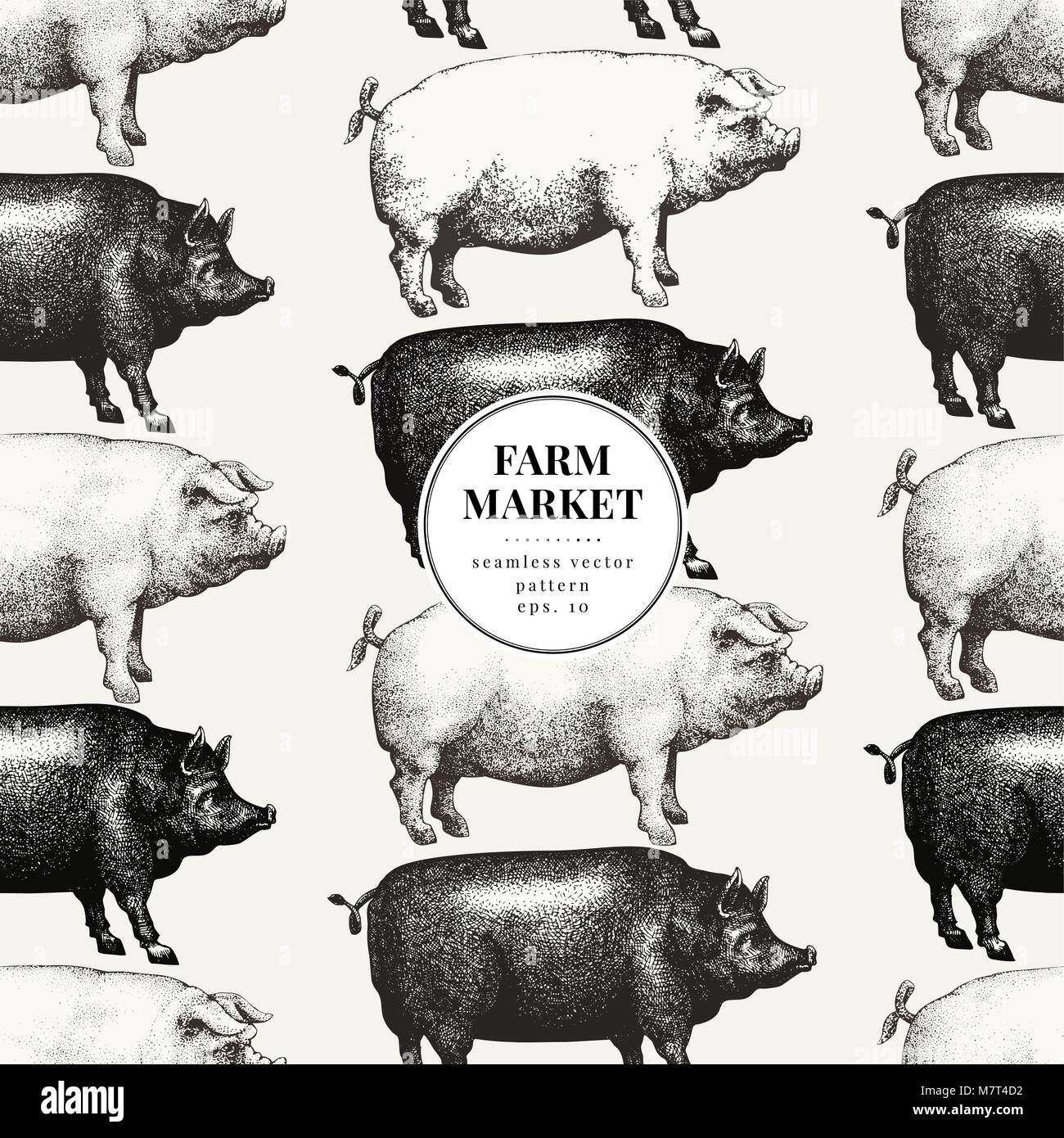 Seamless Farm Vector Pattern Graphical Pig Silhouette Hand Drawn Retro Illustrations Vintage Animals Background Banner Template