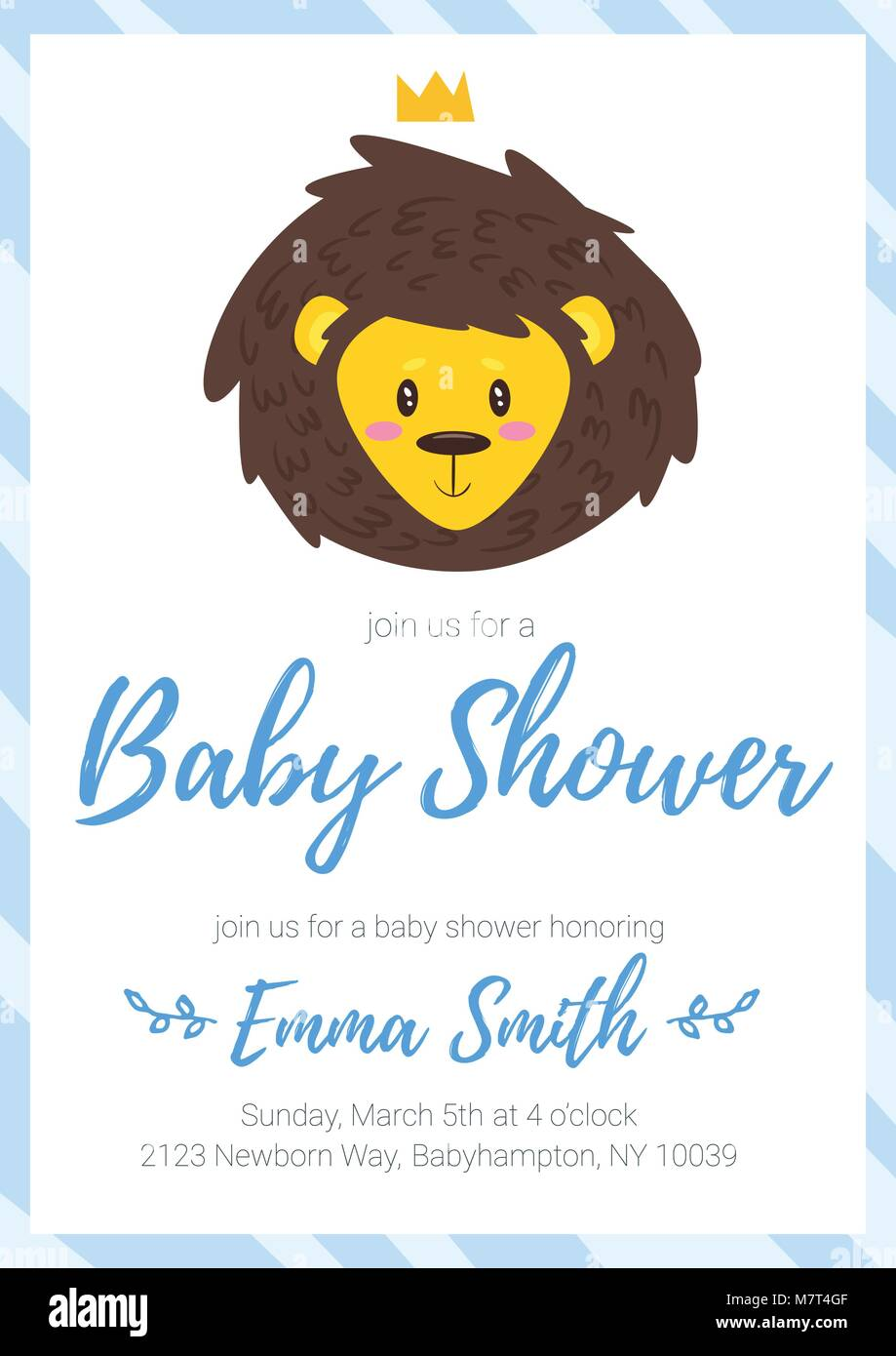 Vector cartoon style illustration of Baby shower invitation. Baby ...