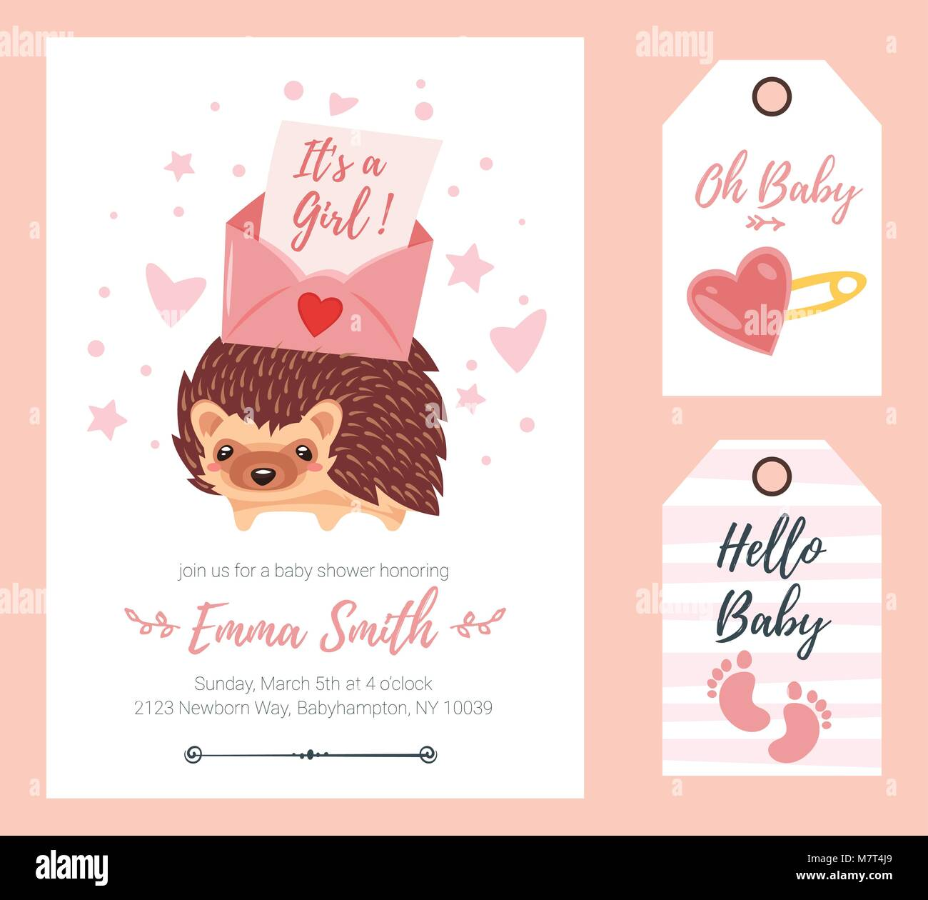 Vector cartoon style illustration of baby shower invitation baby vector cartoon style illustration of baby shower invitation baby girl celebration greeting card and tags template cute hedgehog with colorful letter stopboris Choice Image