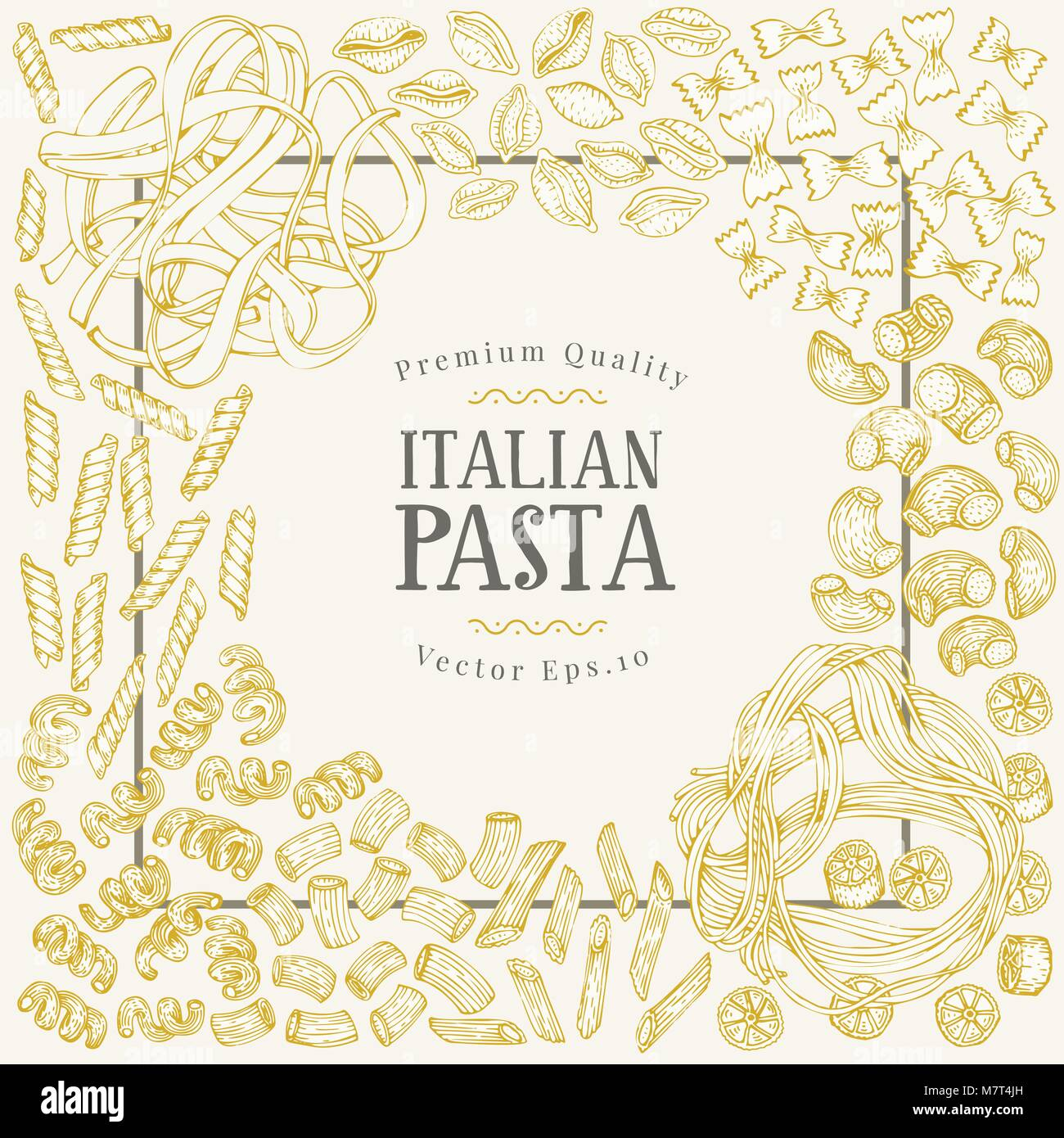 Vector banner template with different types of traditional Italian pasta. Hand drawn vector background. Can be use Stock Vector