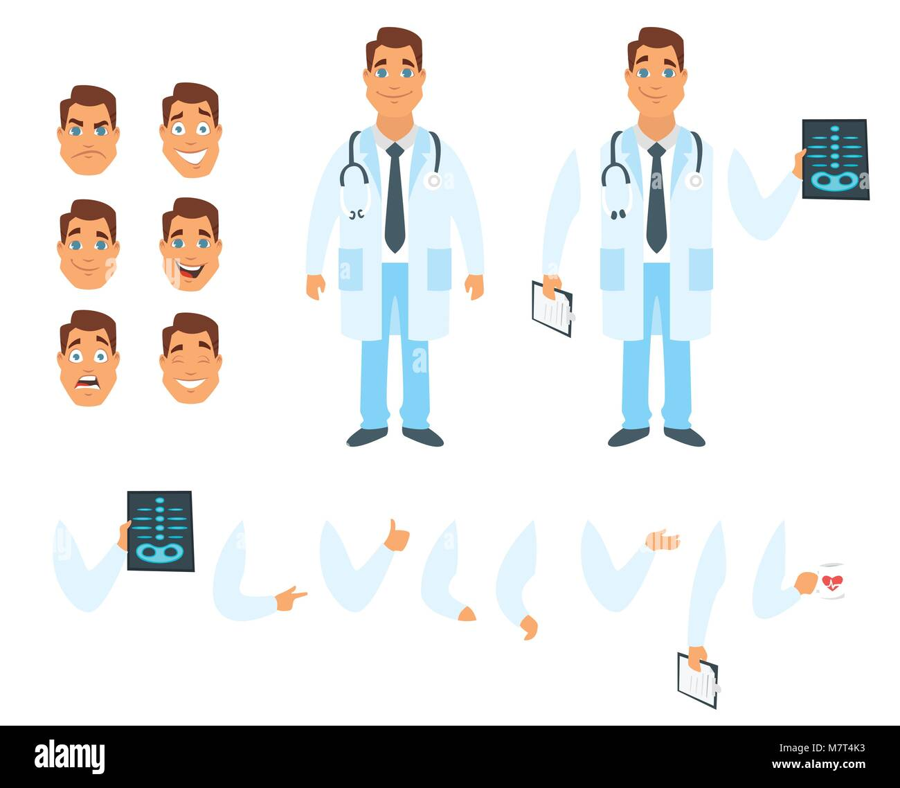 Vector cartoon style man doctor character generator  Different Stock