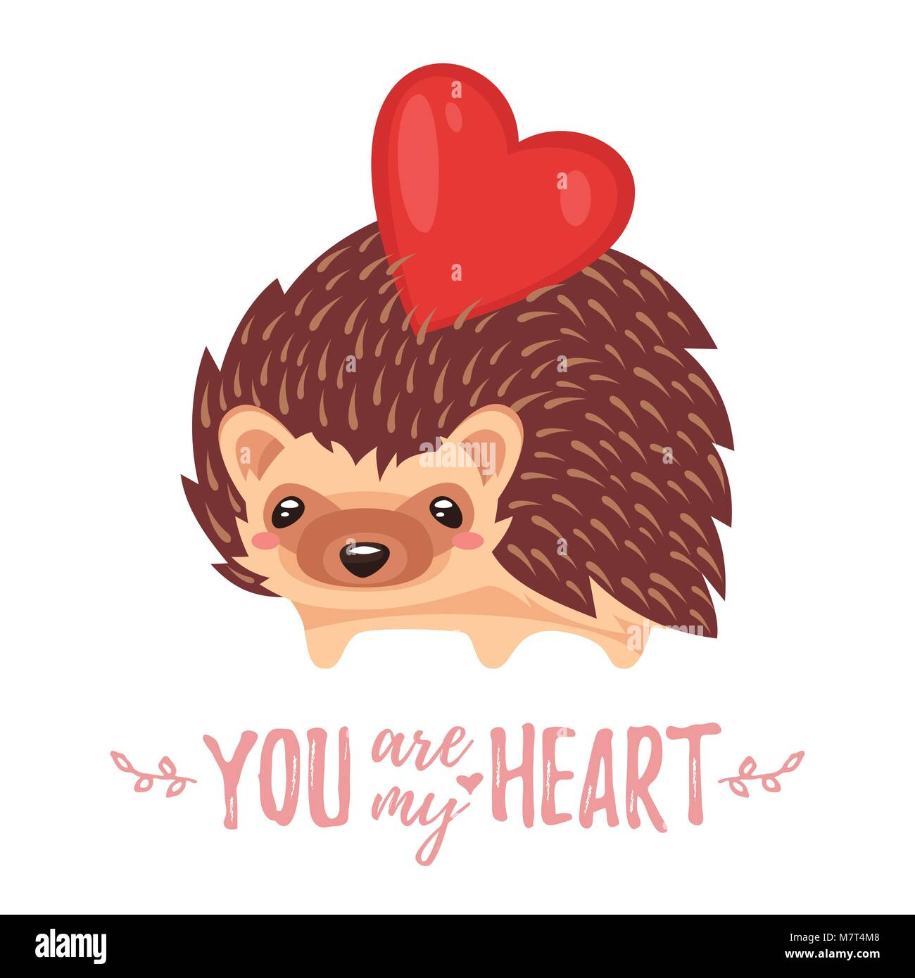 Vector cartoon style illustration of Valentine's day romantic gift card with cute hedgehog and heart on his - Stock Image