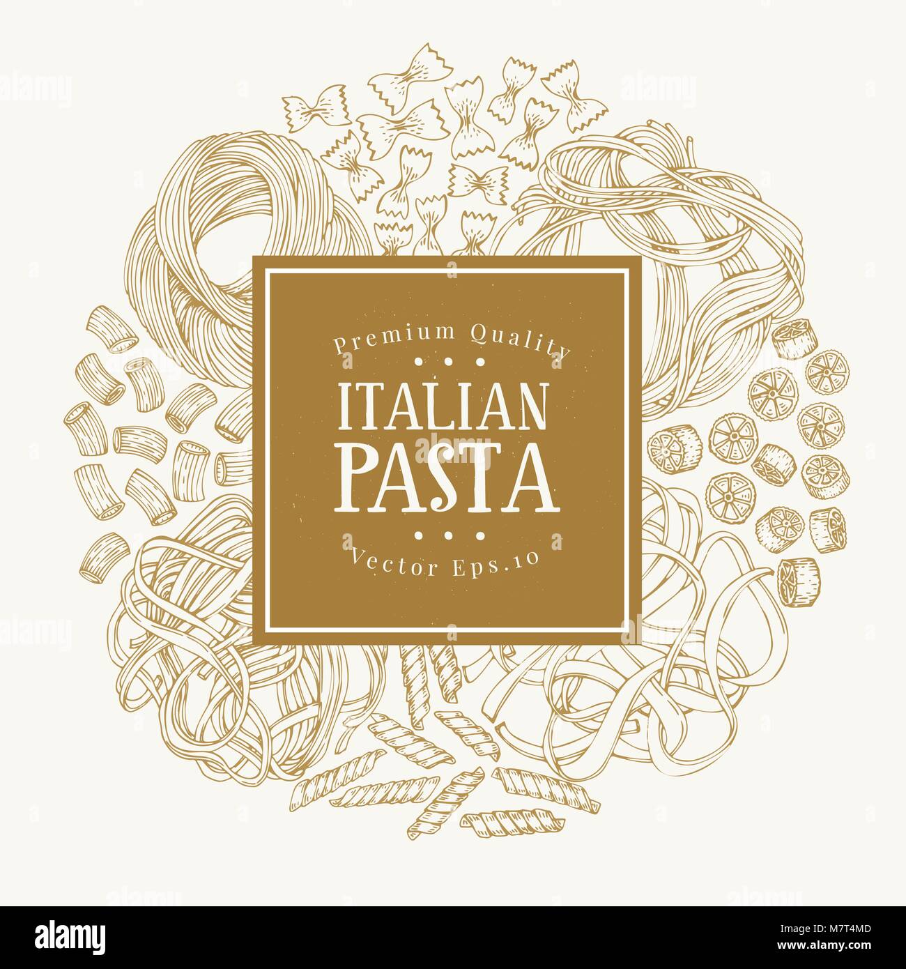 Vector frame with different types of traditional Italian pasta. Hand drawn vector background. Can be use for menu Stock Vector