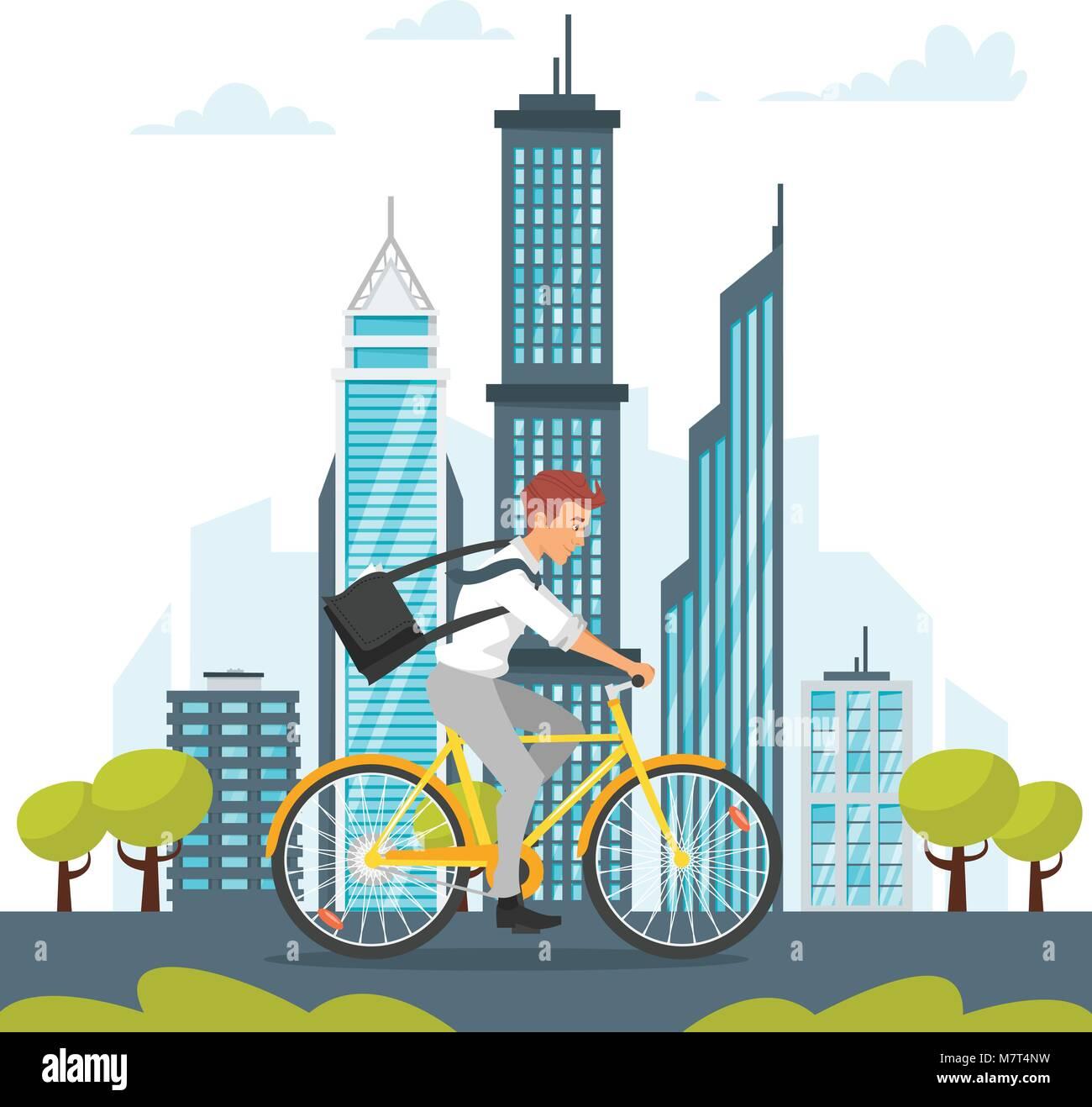Vector cartoon style illustration of city landscape. Urban skyline. Modern skyscrapers and city transport. Businessman Stock Vector