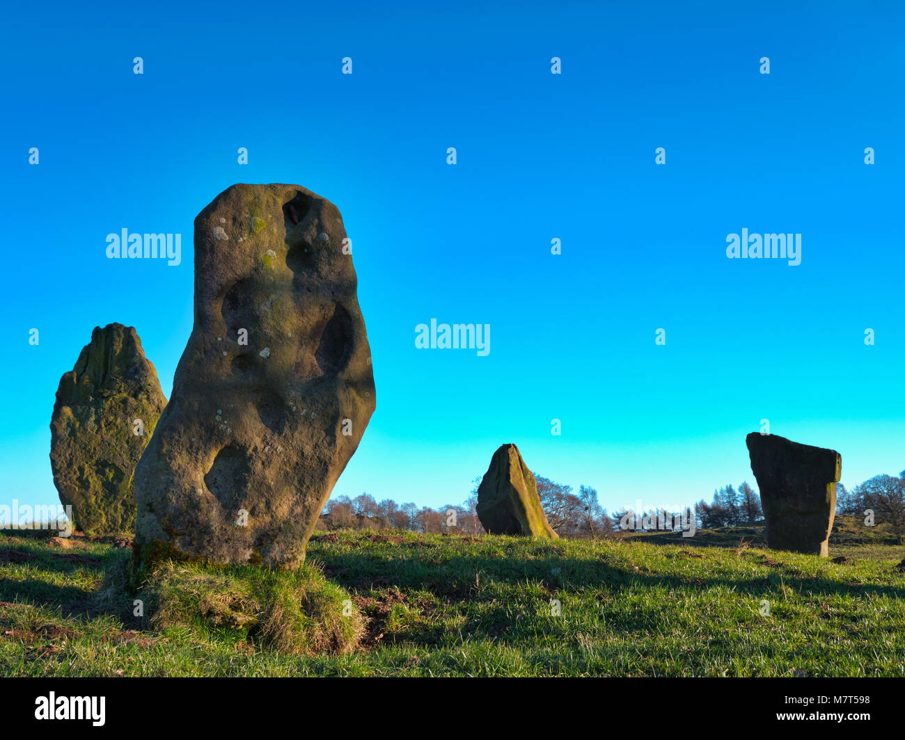 The Grey Ladies / Nine Stone Close Stone Circle, Robin Hood's Stride near Elton, Alport & Birchover south - Stock Image