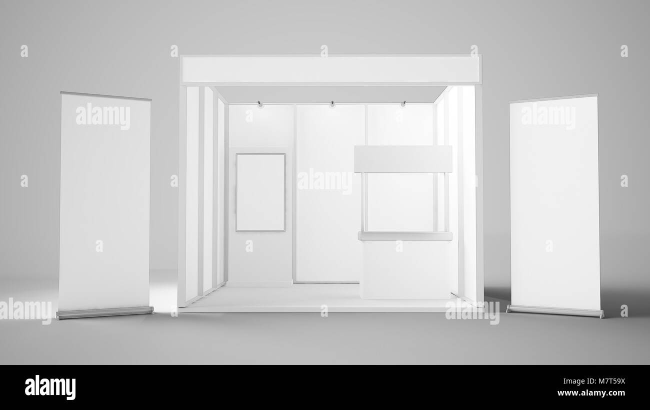 Exhibition Stand Reception : 3d rendering of white exhibition stand with two roller reception
