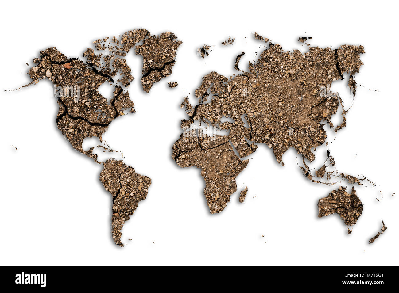 Dry clay texture on world map representing climate change, global warming, starvation, drought and other environment - Stock Image