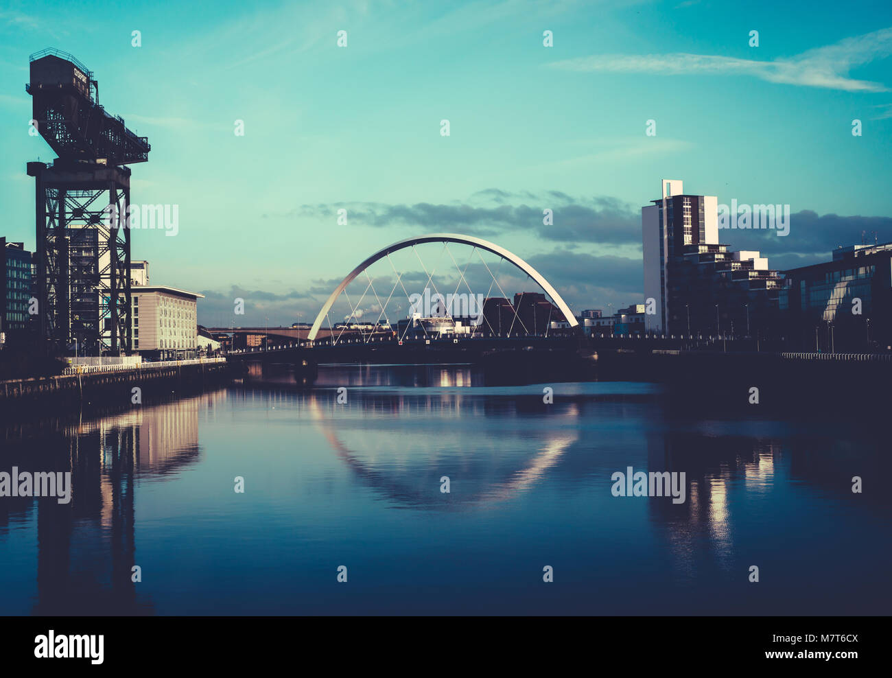 View of the Clyde Arc Bridge and Finnieston Crane, on the River Clyde, Glasgow, Scotland - Stock Image