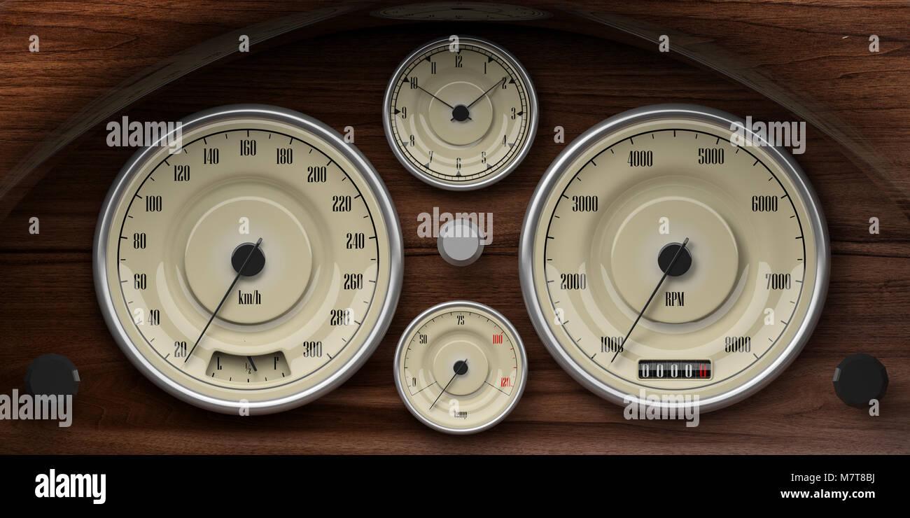 Old Vintage Car Engine Temperature Gauges