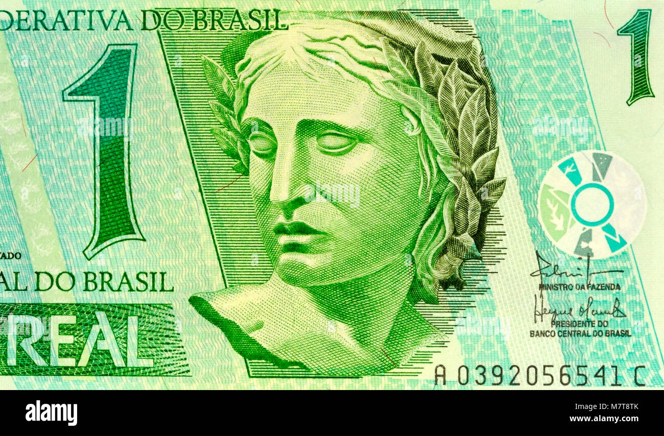 Brazil Reais 1 One Real Bank Note Stock Photo: 176940083 - Alamy