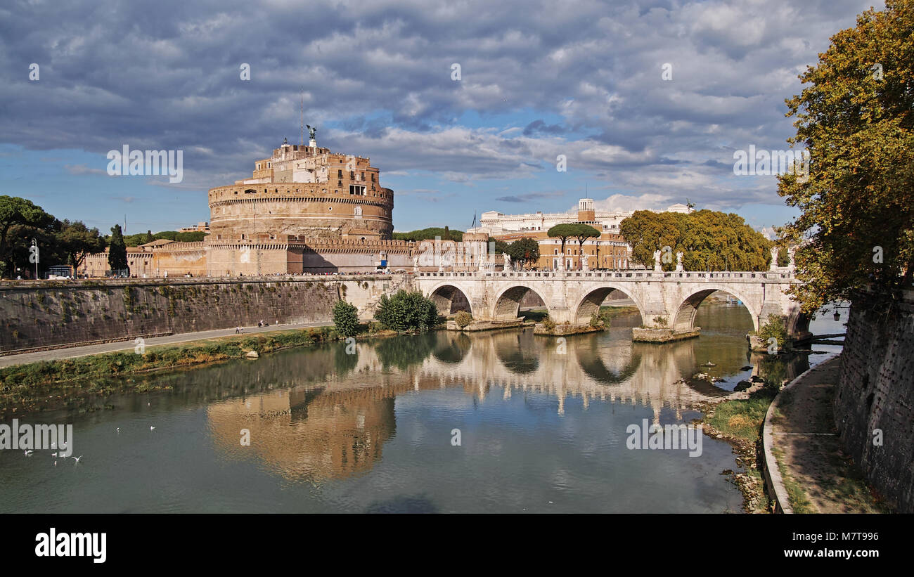 view of Castle of the holy angel and  aelian bridge, Rome, Italy - Stock Image