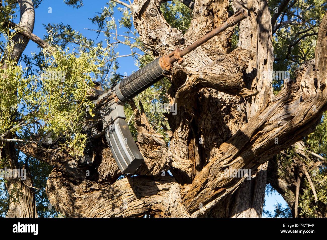 Smuggler's gun from the desert Stock Photo