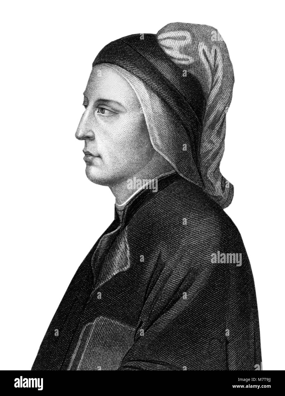 Dante Alighieri (1265-1321), a 19thC engraving of the Italian poet and statesman of the late middle ages. - Stock Image