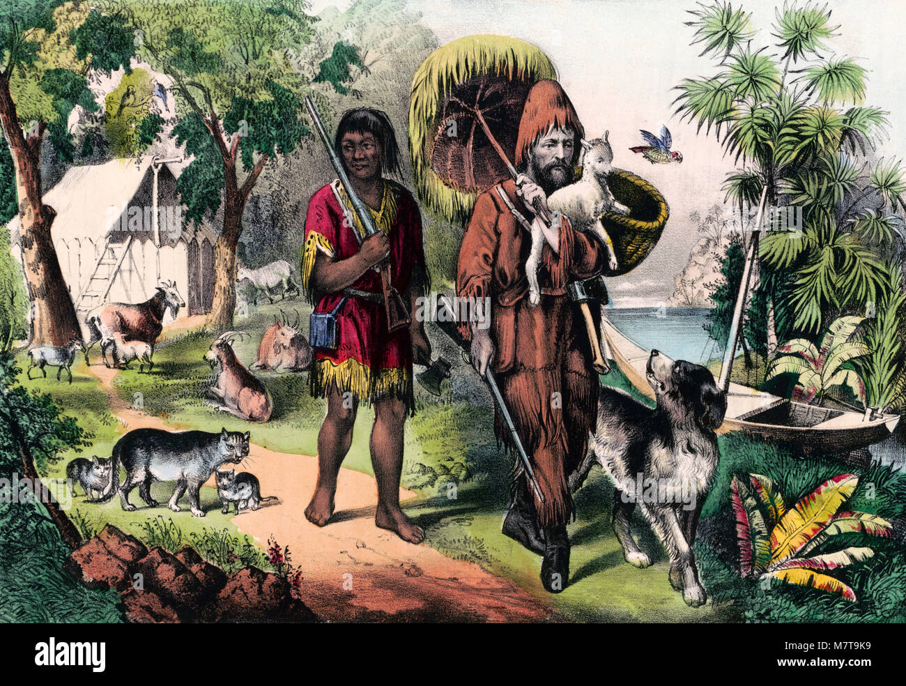 Robinson Crusoe and Man Friday, a hand coloured lithograph from 1874. - Stock Image
