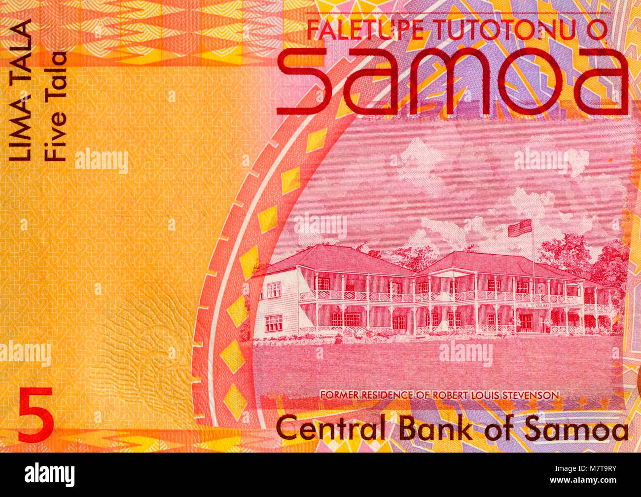Samoa Five 5 Tala Bank Note - Stock Image