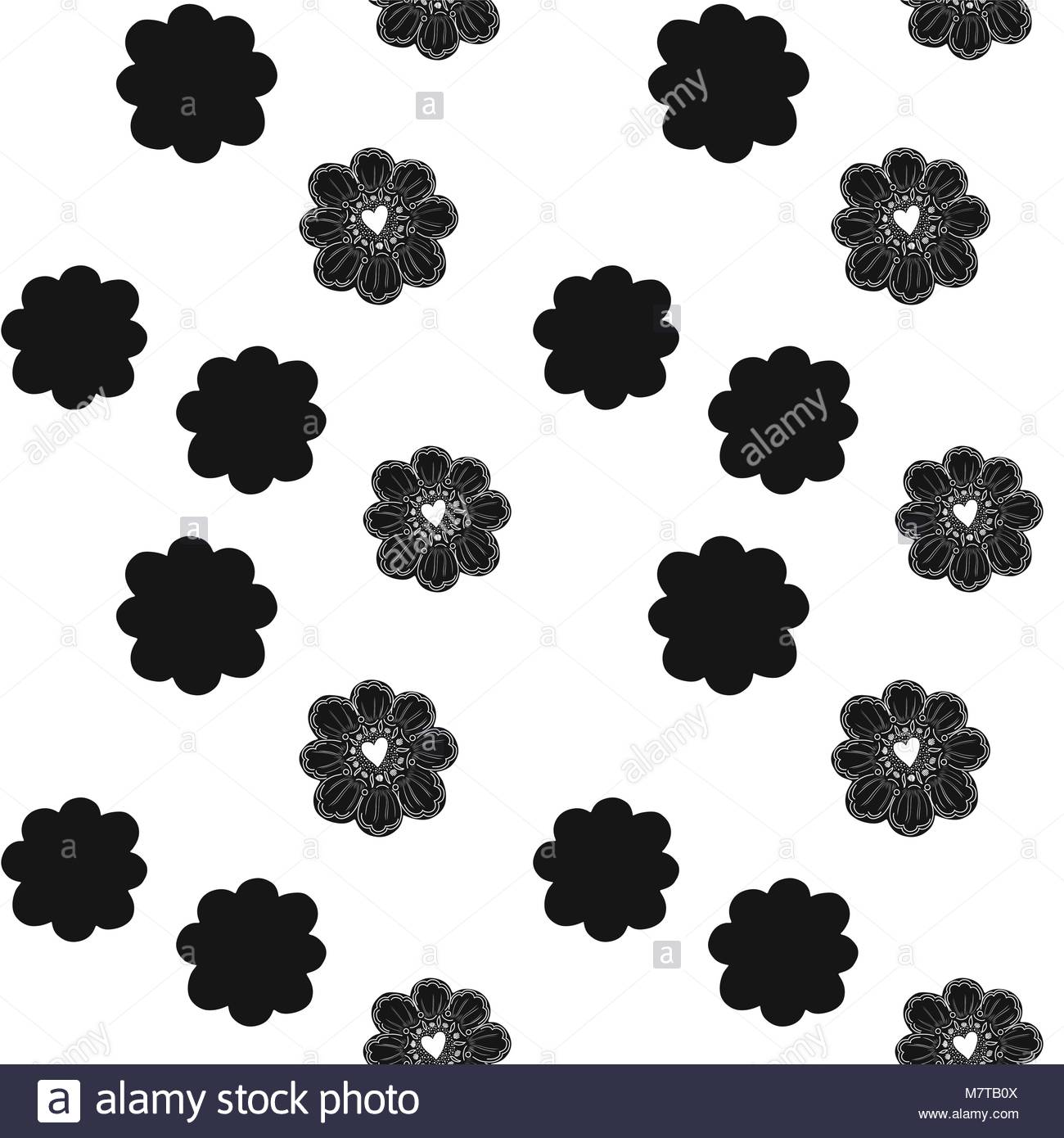 Seamless Pattern Simple Flower Element Doodle Decoration Easy To Change Color Geometric Arrangement White Background