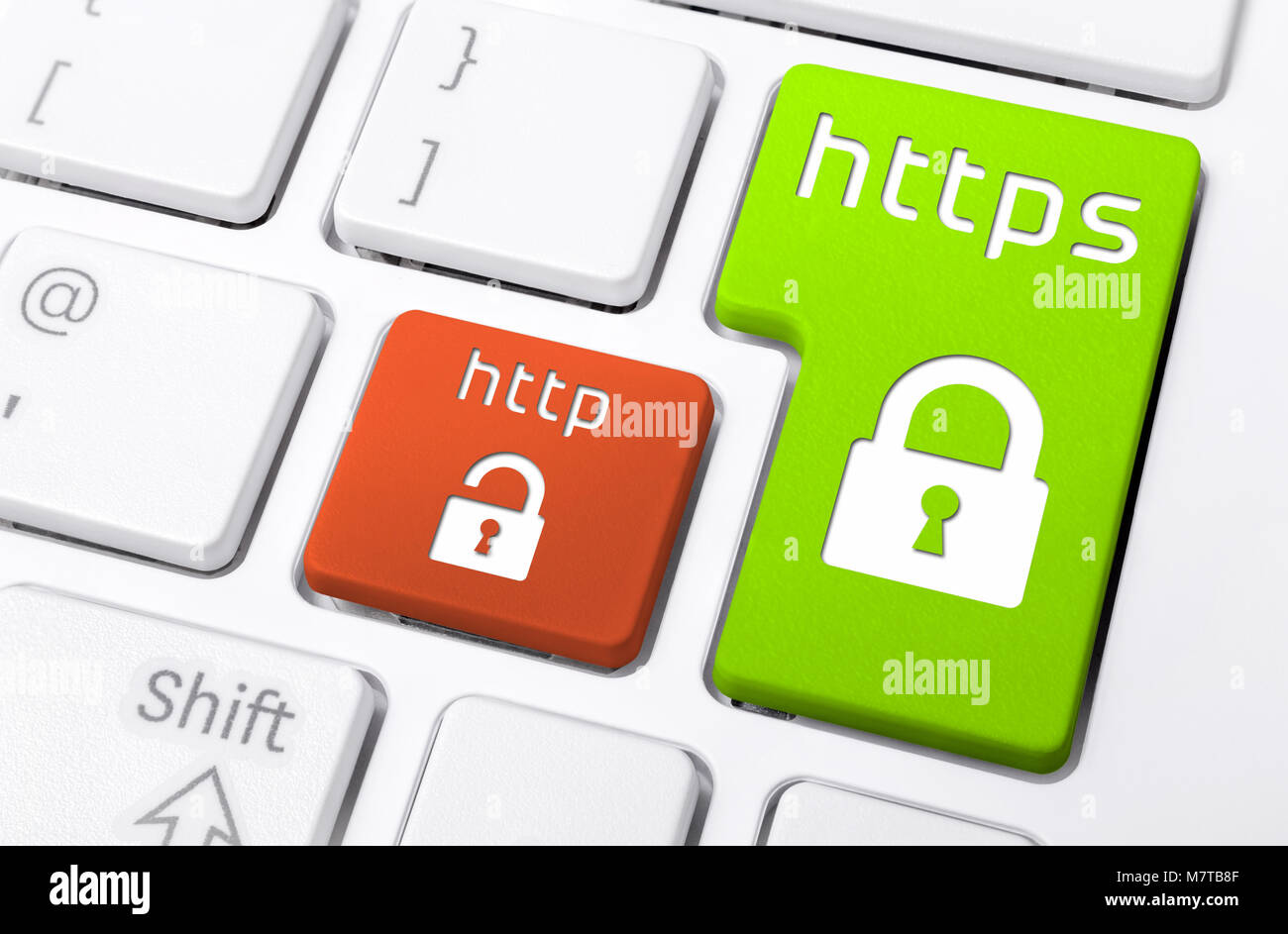 Close Up Of A Keyboard With HTTPS and HTTP Buttons With Lock Icons - Stock Image